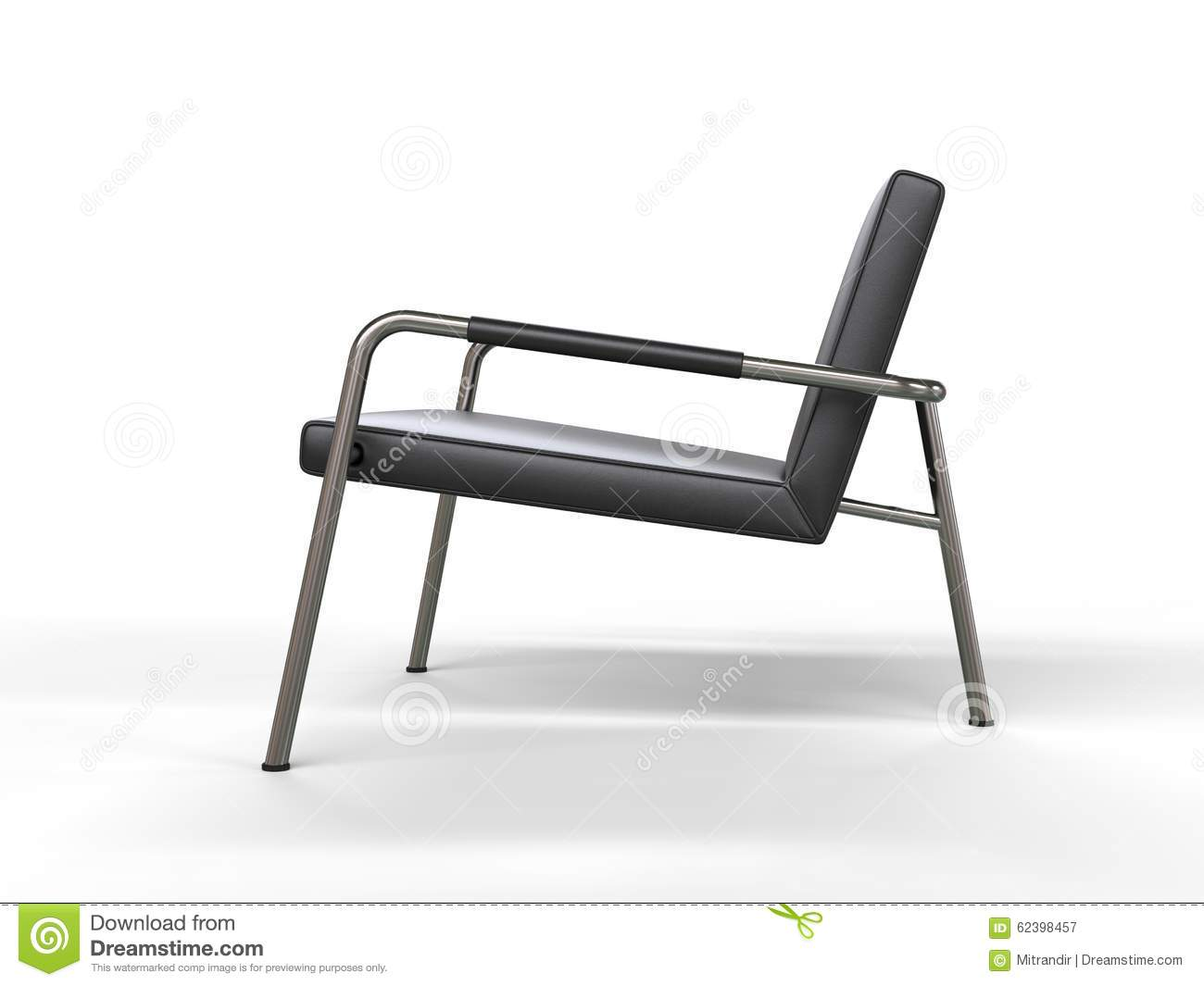 Black And White Stylish Armchair Side View Stock Photo