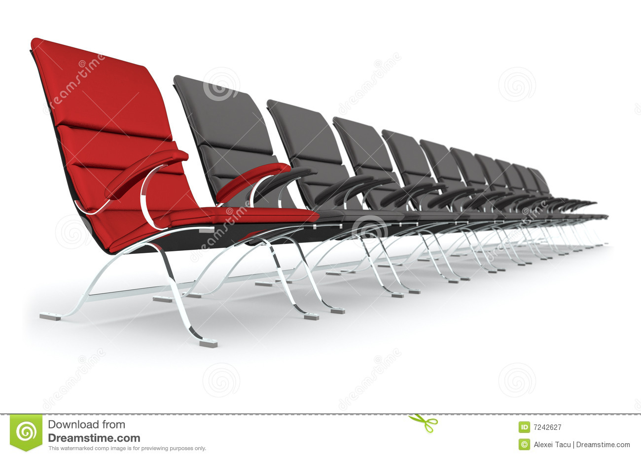 Black leather chairs with red chair leading