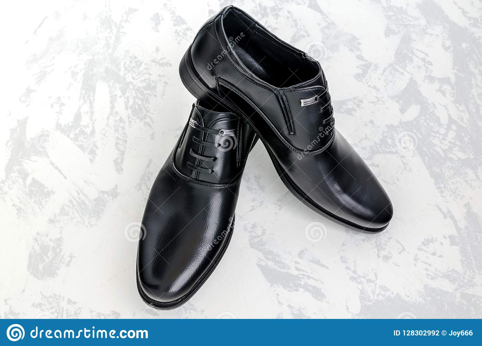 Black Leather Executive Shoes. Stock