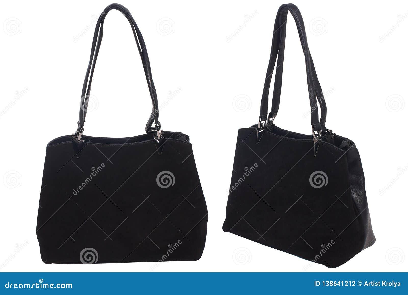 Black leather female handbag isolated on white background,