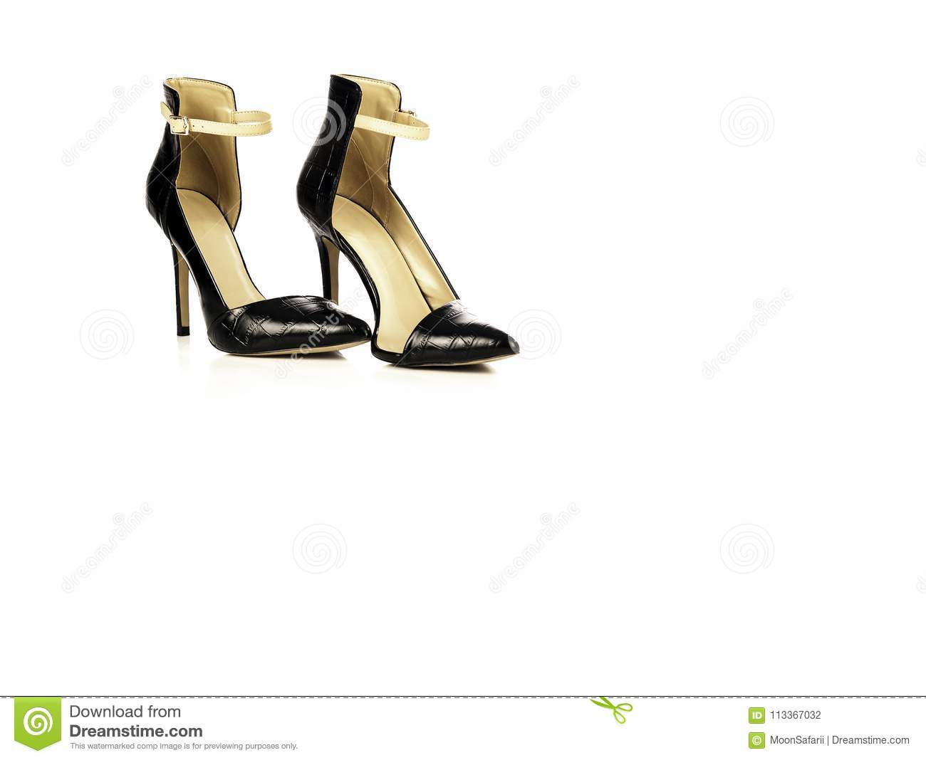 0665b43db4d0 Black leather elegant and stylish women shoes with high heel isolated on white  background