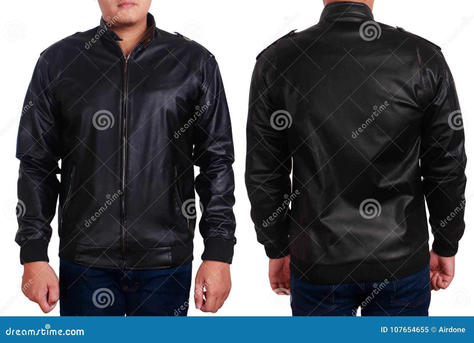 Black Leather Jacket Mockup Template
