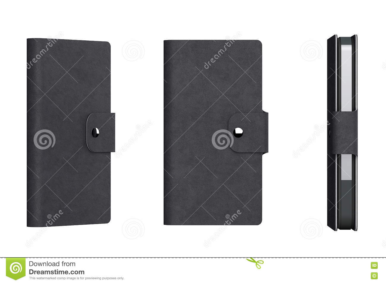 Black Leather Mobile Phone Case 3d Rendering Stock Illustration Blank Auto Wiring Diagrams Schematic