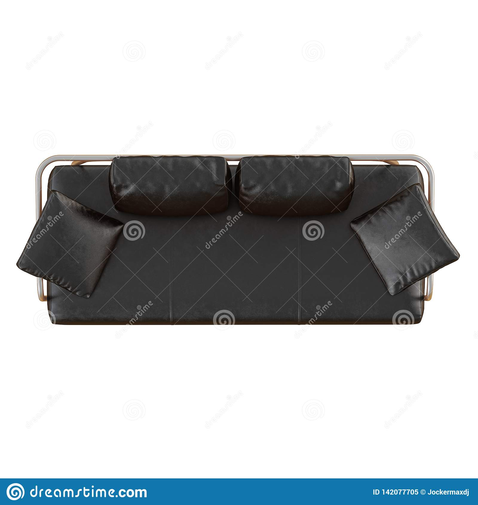 Pleasing Black Leather Sofa With Pillows On A White Background 3D Machost Co Dining Chair Design Ideas Machostcouk