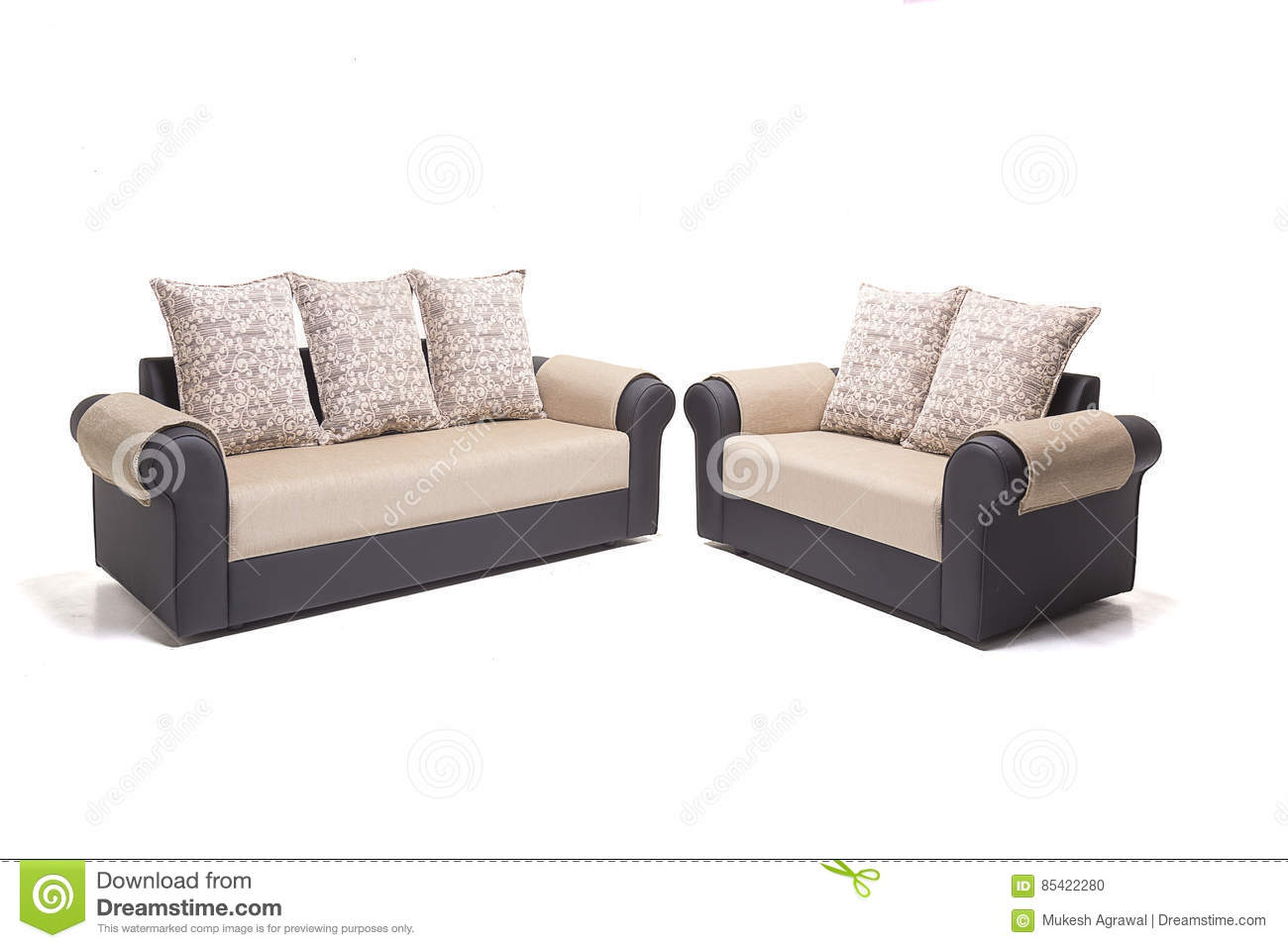 Black Leather Sofa Set With Golden Covers And Cushions Over It With