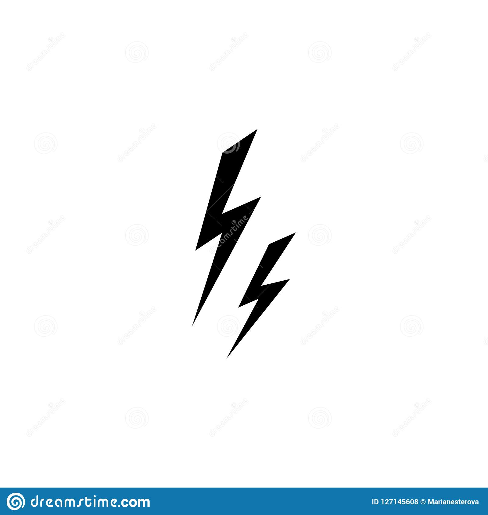 Black Lightning Bolt Simple Flat Icon  Storm Or Thunder And