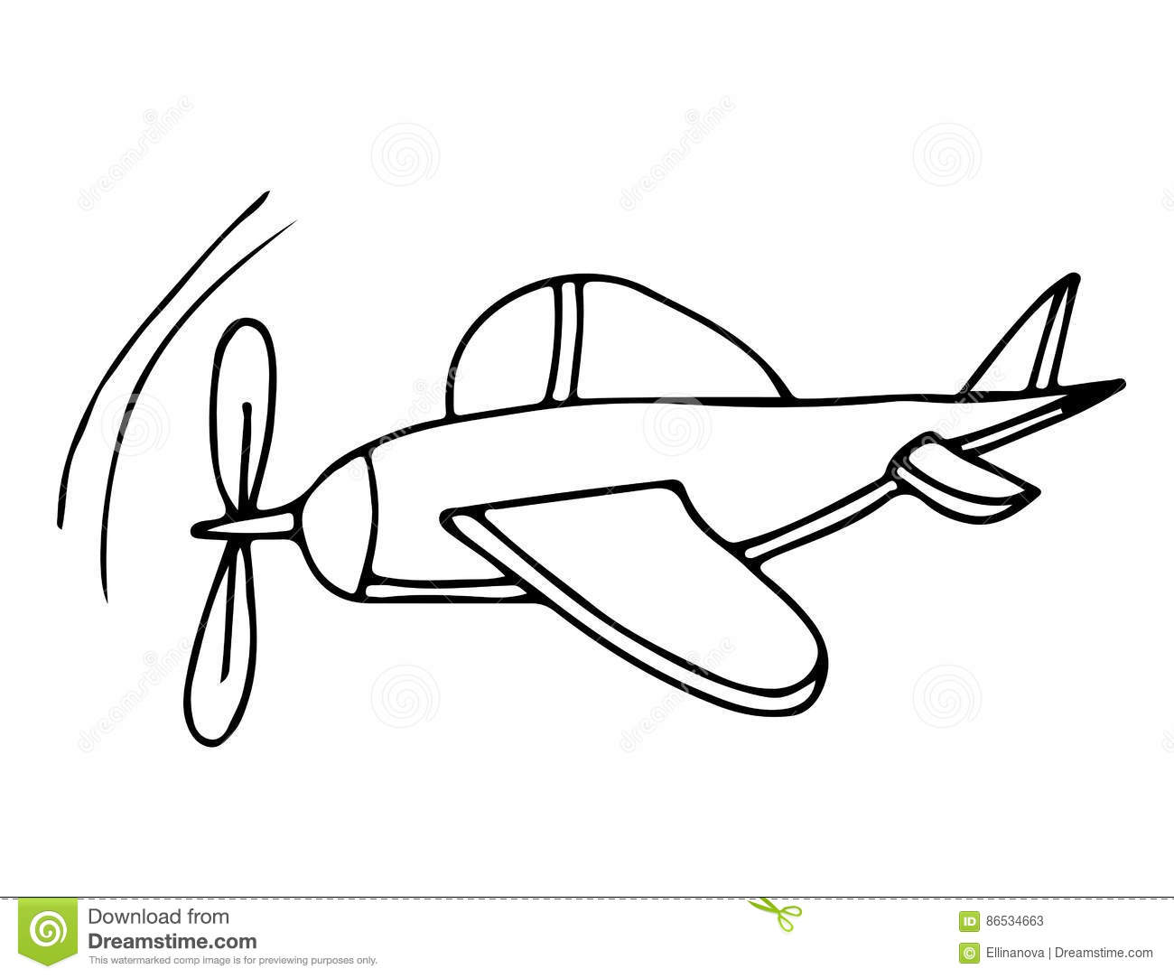 Black Line Airplane For Coloring Book Stock Vector - Illustration of ...