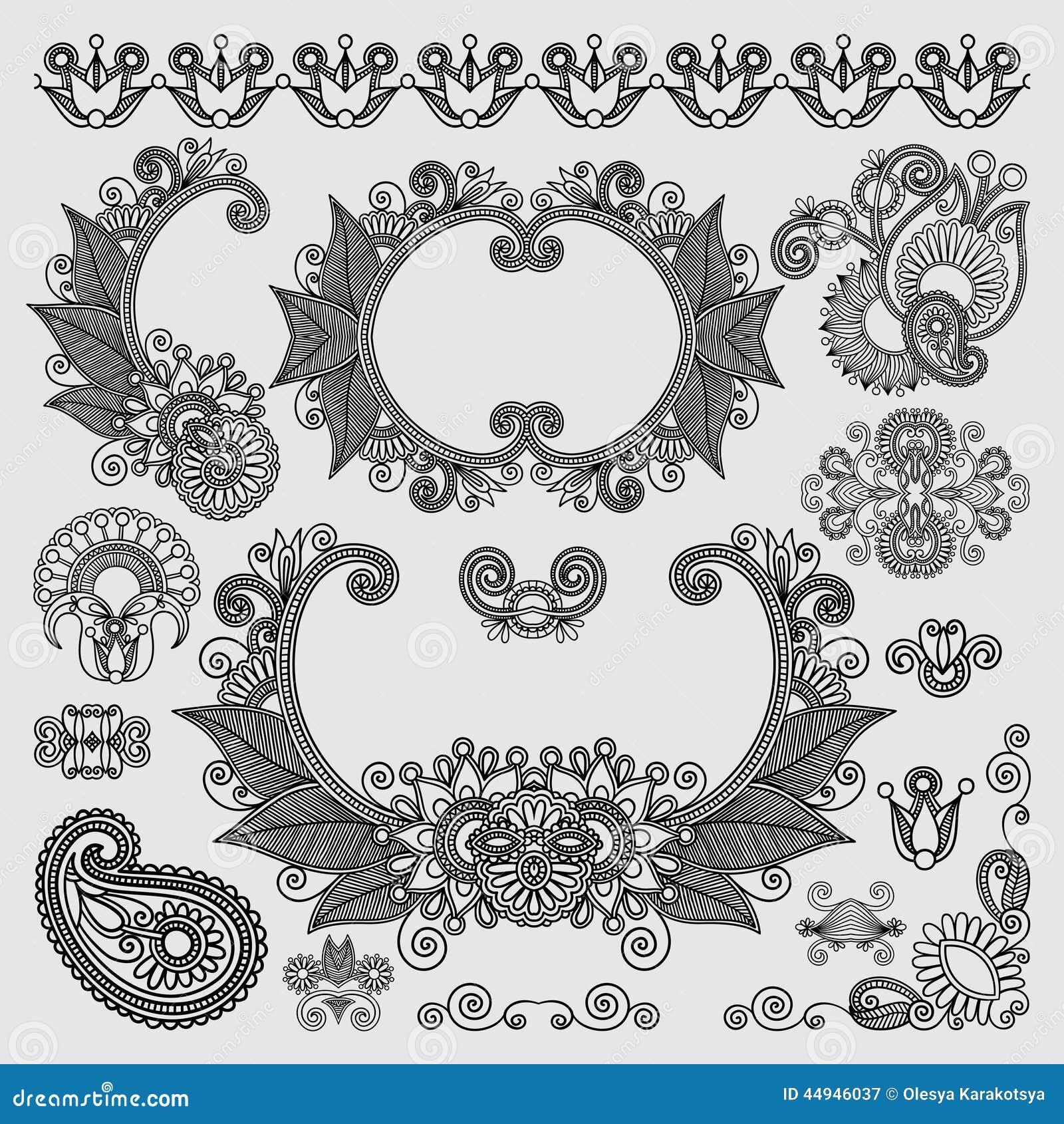 Line Art Ornate Flower Design : Black line art ornate flower design collection stock