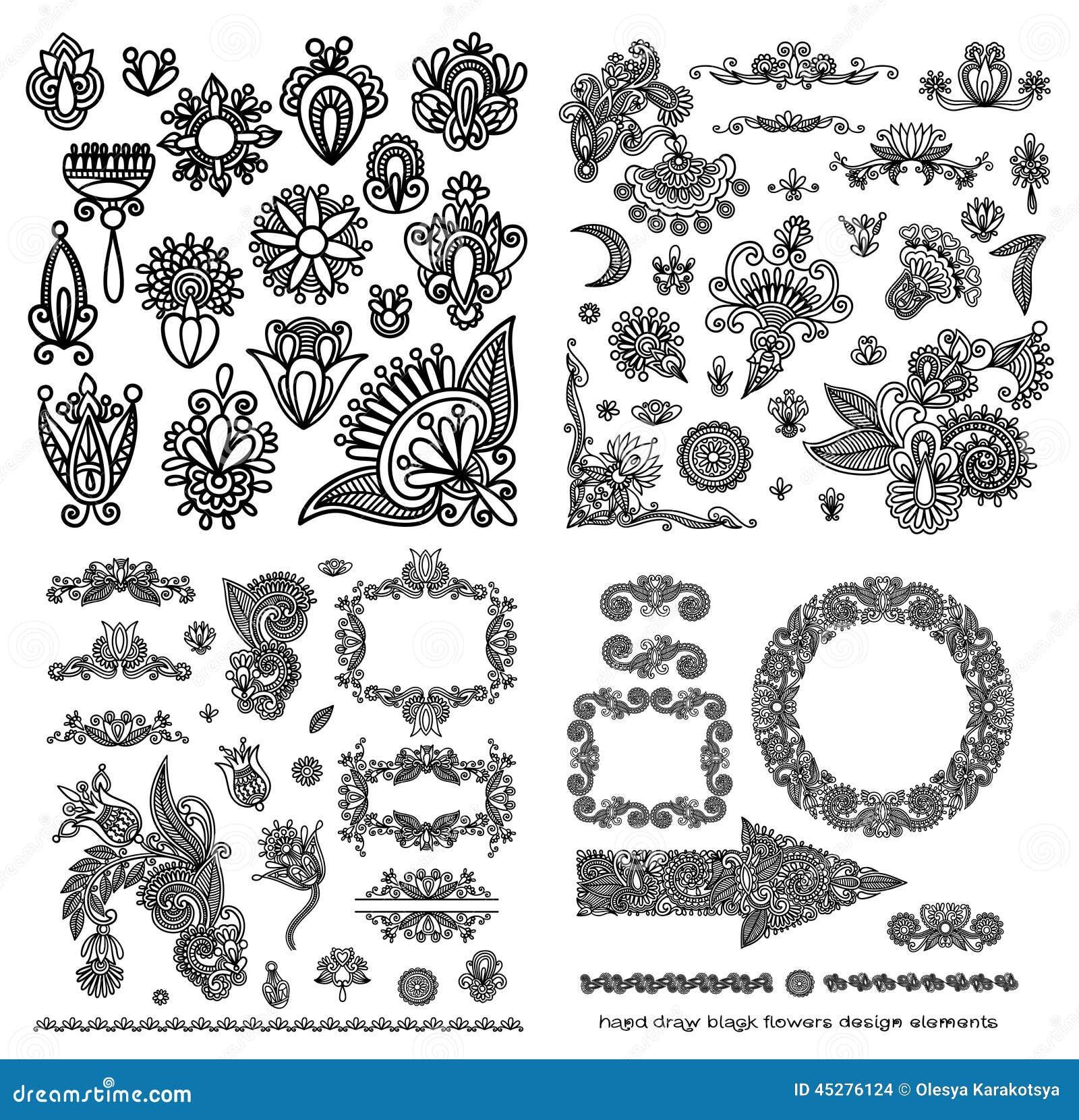 Line Art Flower Design : Line art ornate flower design vector illustration
