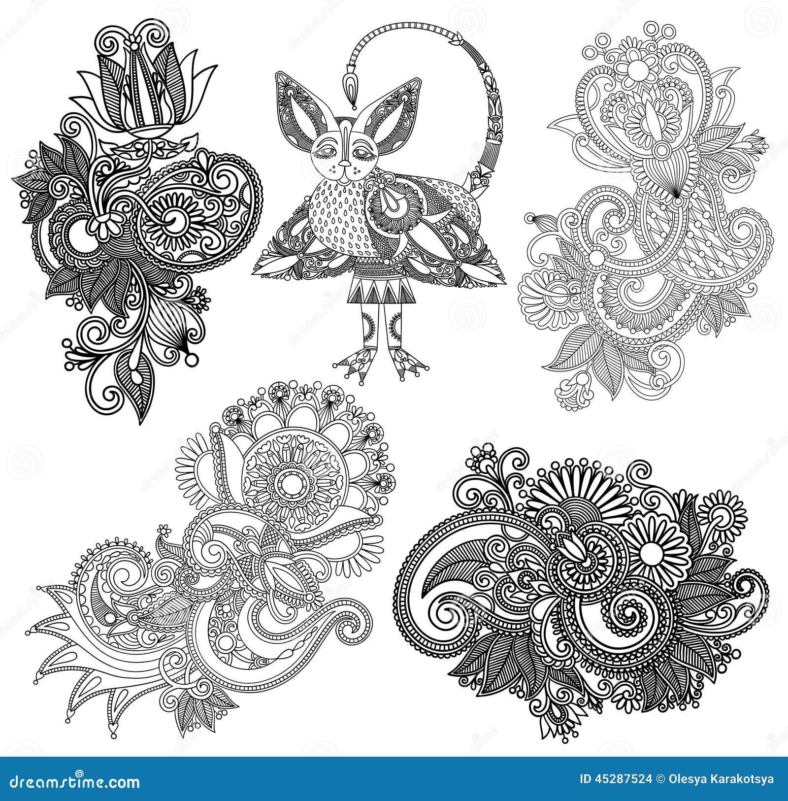 Line Art Flower Design : Black line art ornate flower design collection stock