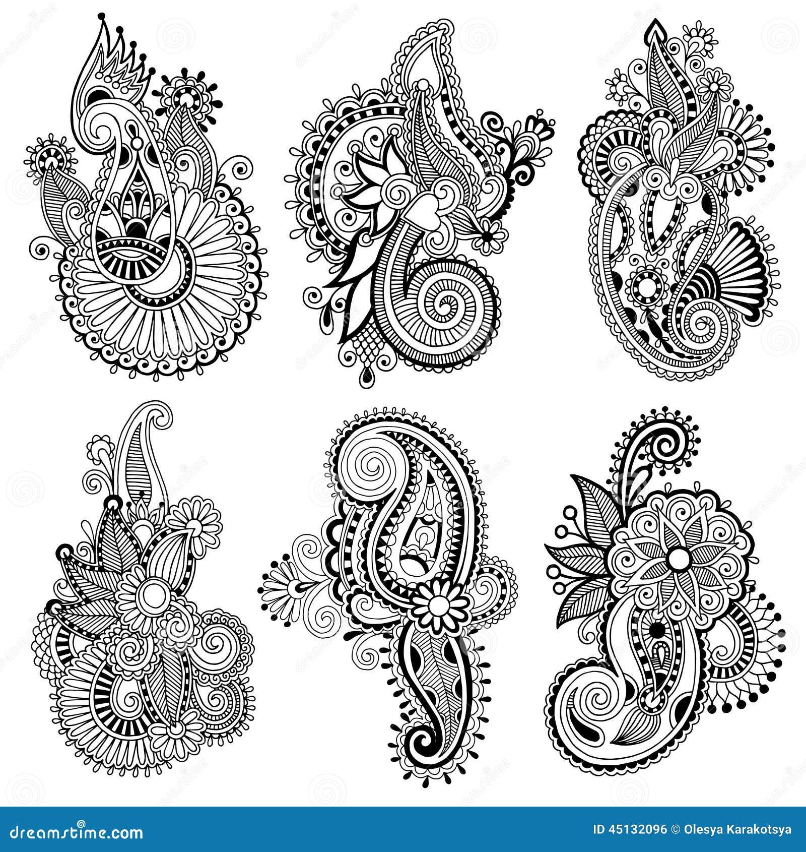 Line Art Aplic Flower Design : Black line art ornate flower design collection stock