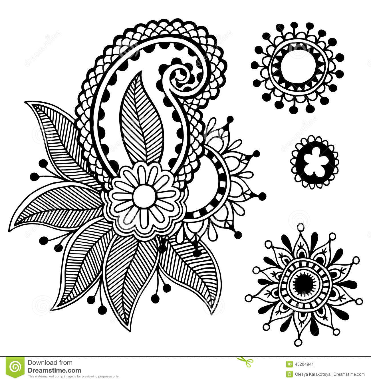 Black And White Line Designs : Black line art ornate flower design collection stock