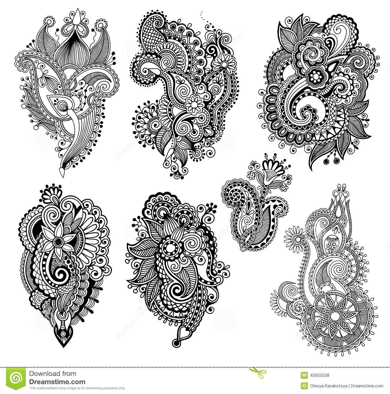 Floral Art Line Design : Black line art ornate flower design collection stock