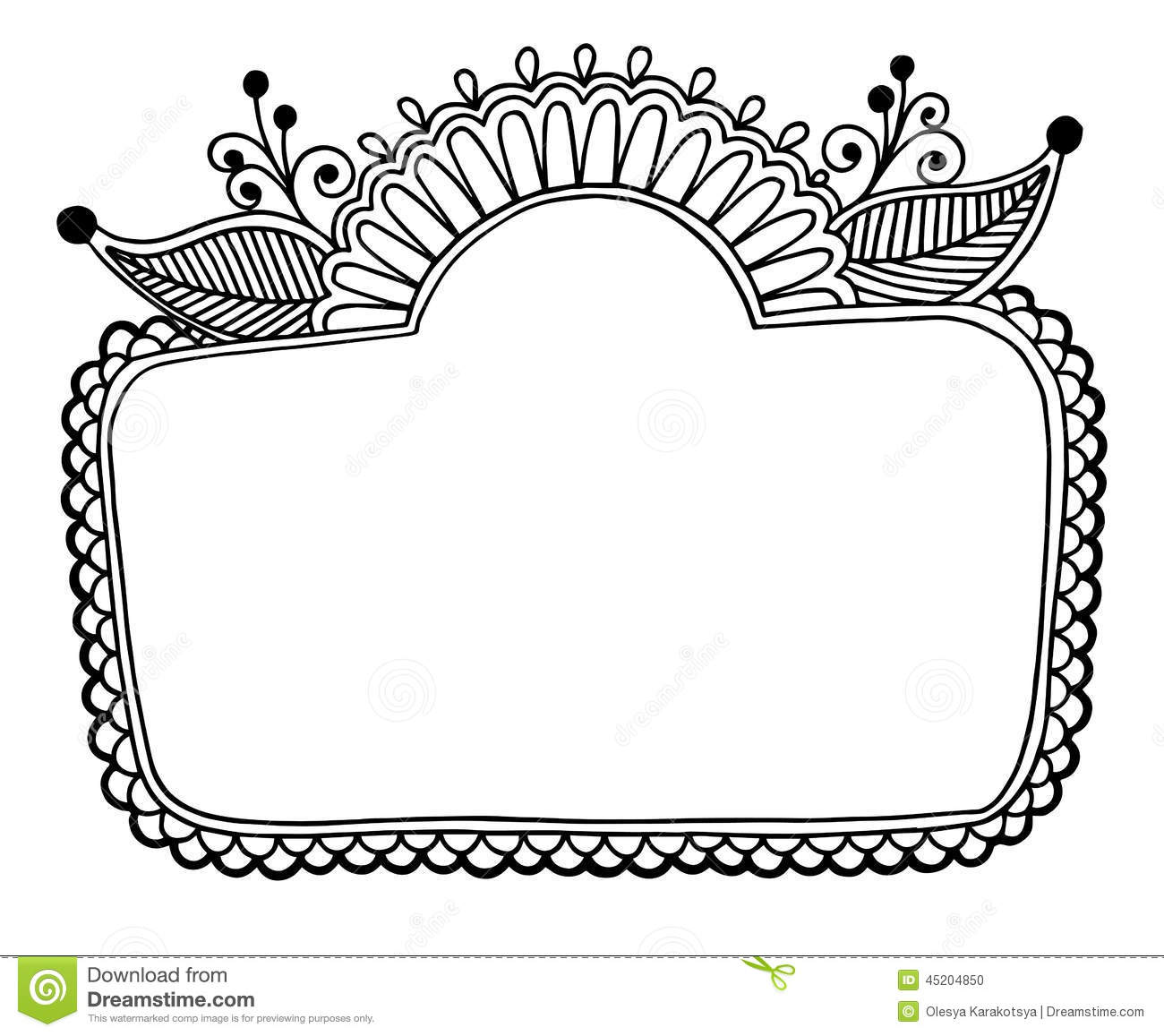 Black Line Art Ornate Flower Design Frame Stock Vector ...