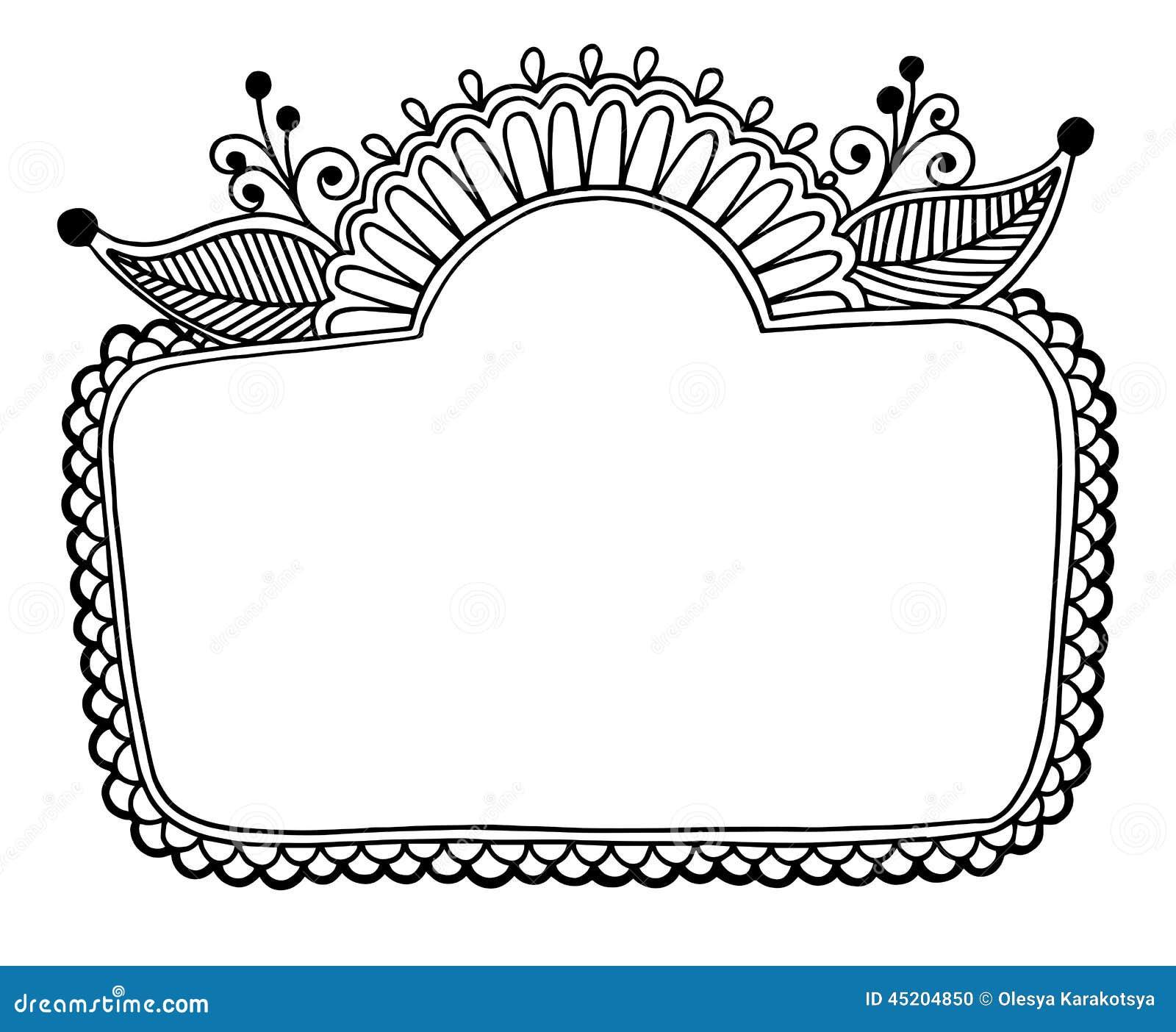 Flower Frame Line Drawing : Black line art ornate flower design frame stock vector