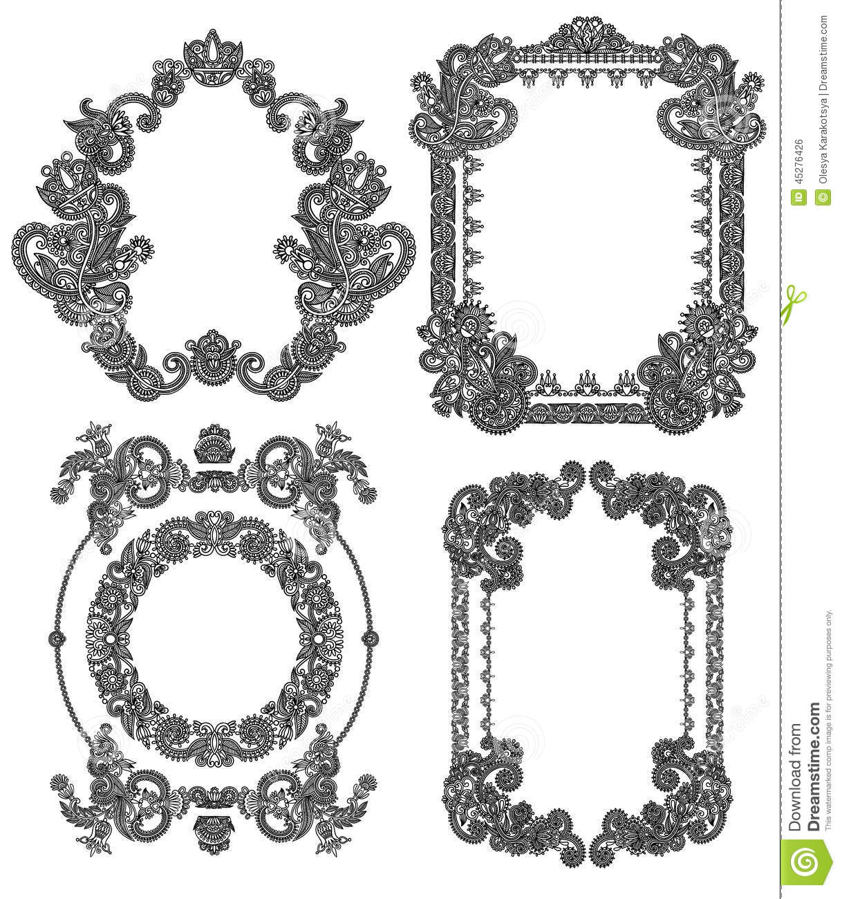 Frame Design Line Art : Black line art ornate flower design frame stock vector