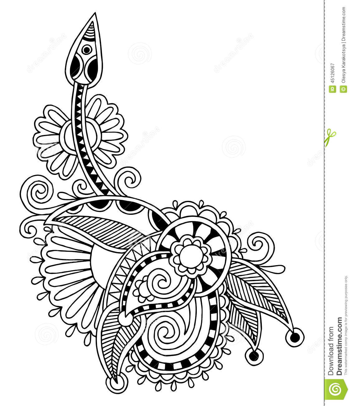 Line Art Styles : Black line art ornate flower design ukrainian vector