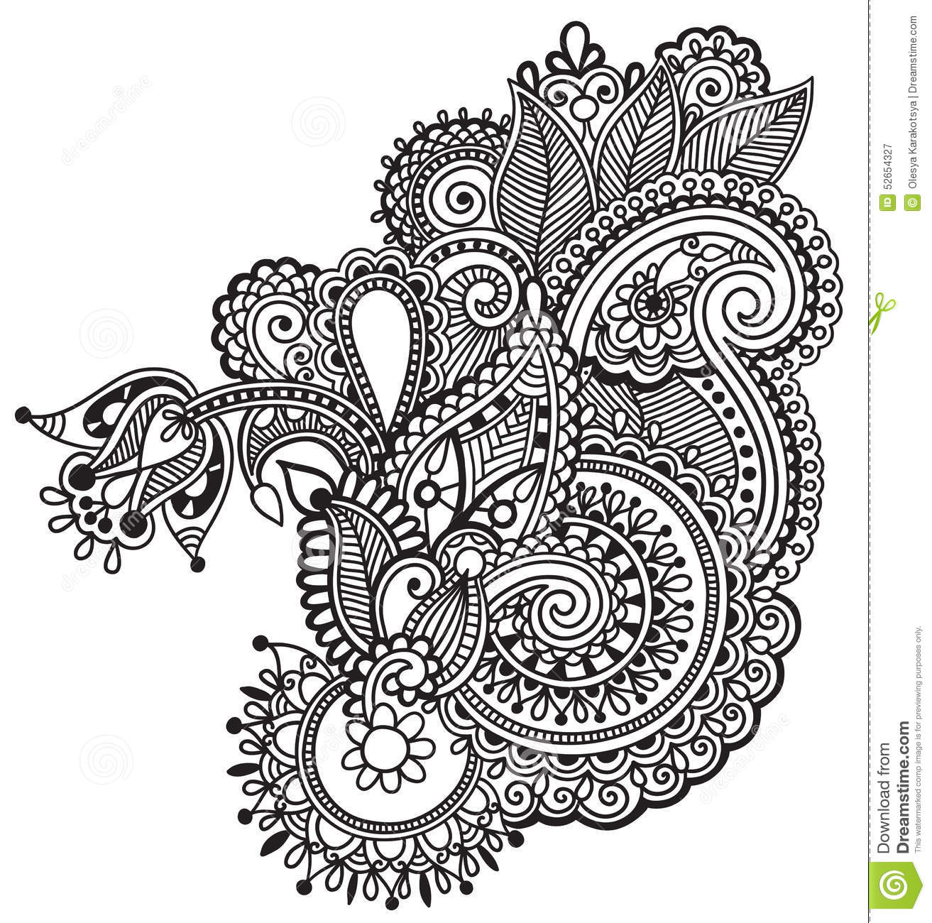 Floral Art Line Design : Black line art ornate flower design ukrainian stock