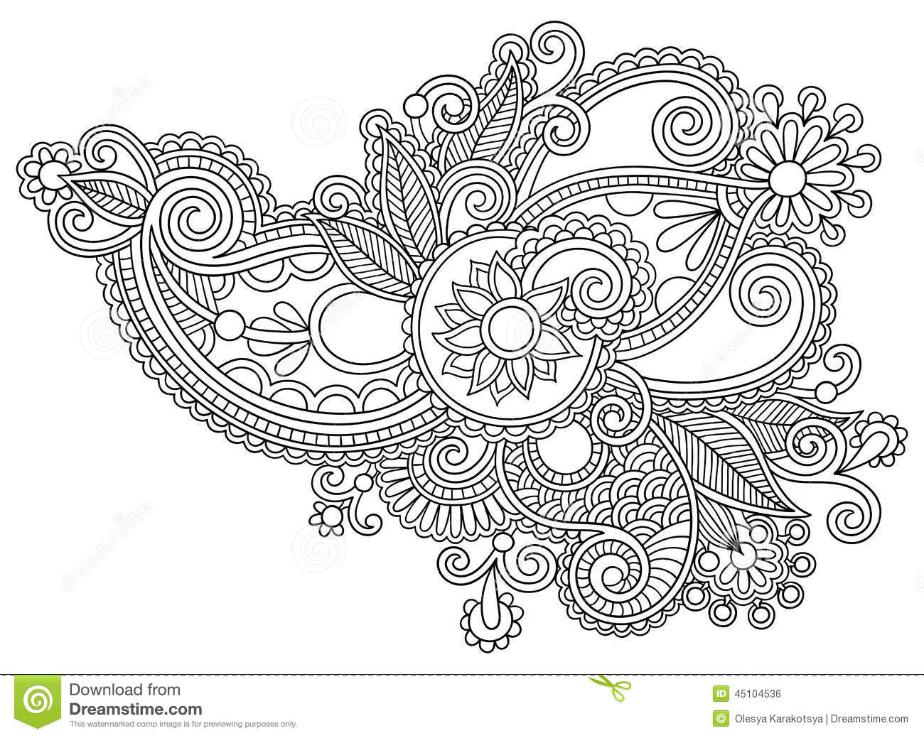 Line Art Flowers Vector : Black line art ornate flower design ukrainian stock