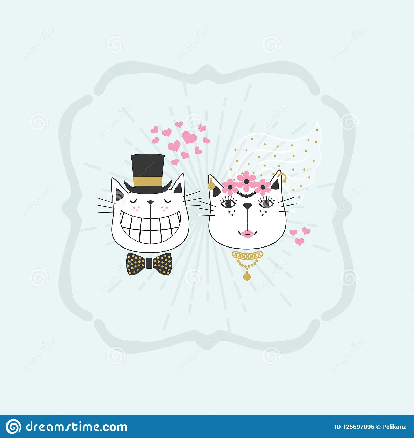 Black Line Cute Happy Stylish Bride And Groom Cats Couple Icons ...