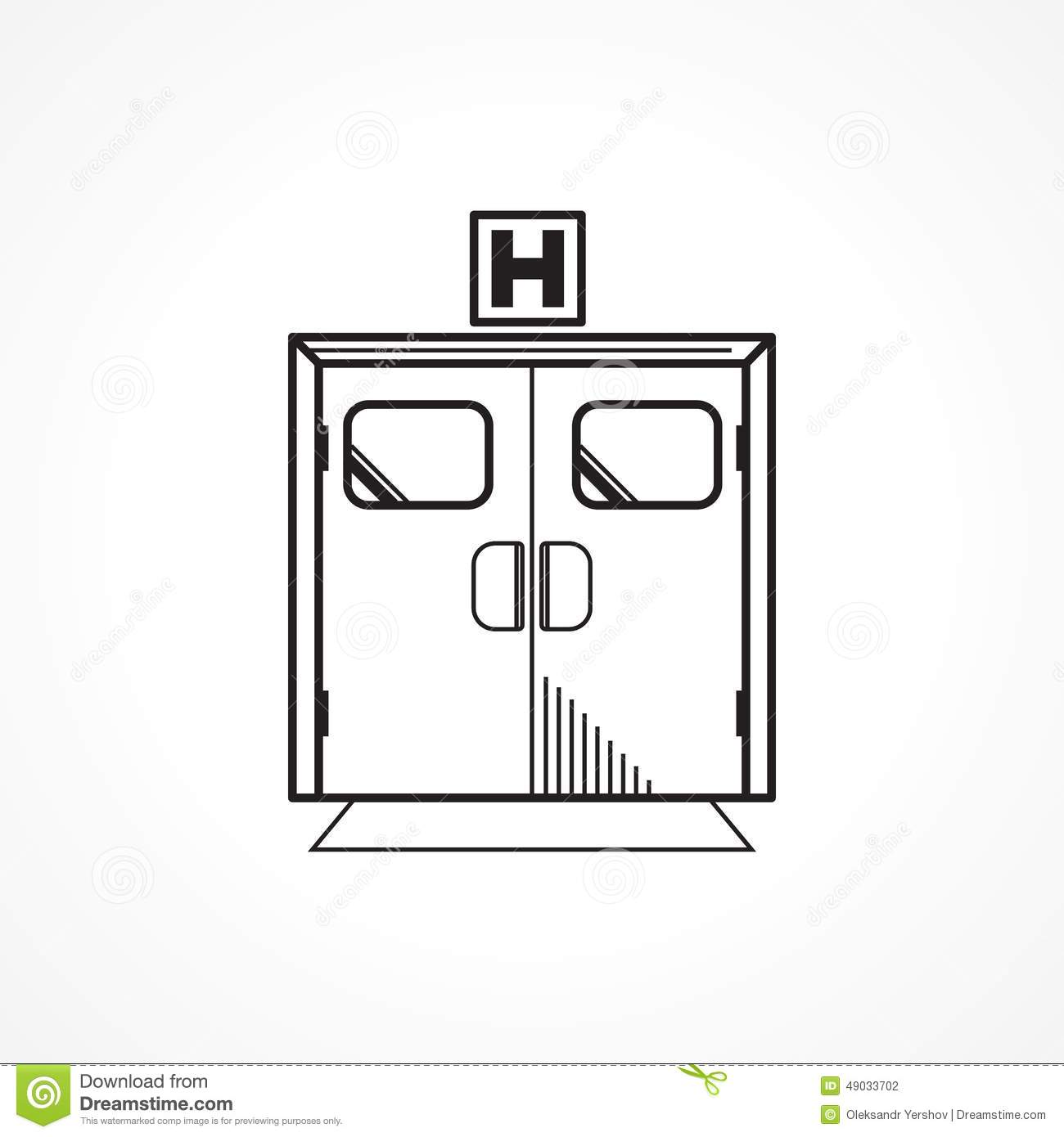 Black line icon for hospital entrance door stock photo for Flat entry door design