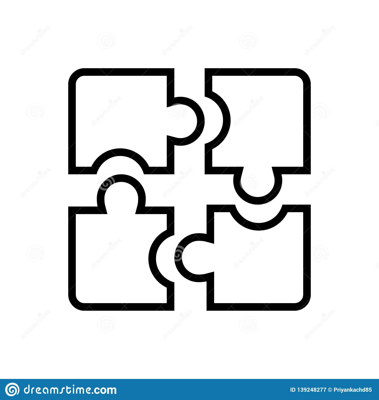 Black line icon for Puzzle, pieces and solution