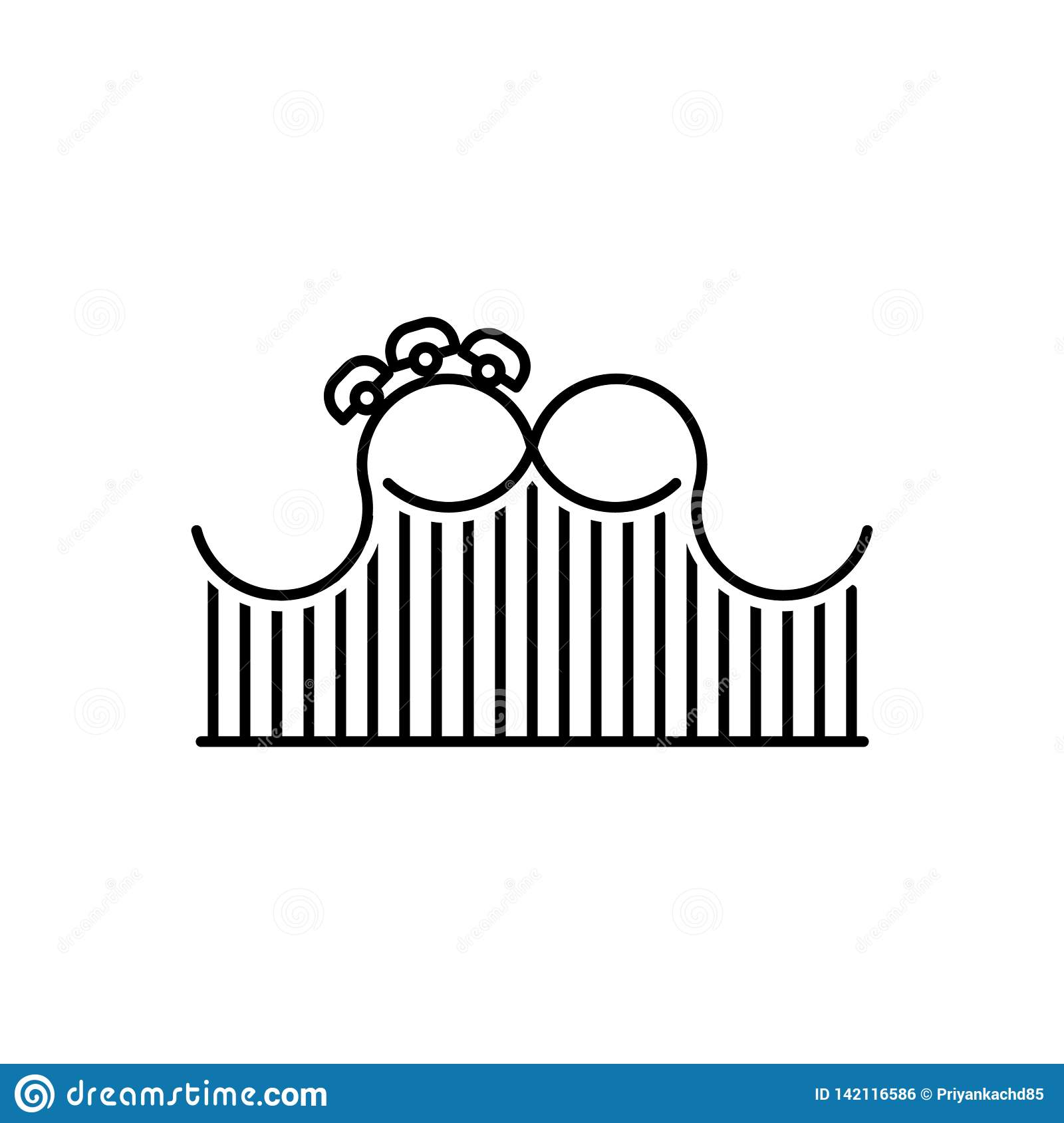 Black line icon for Roller, Coaster and funfair
