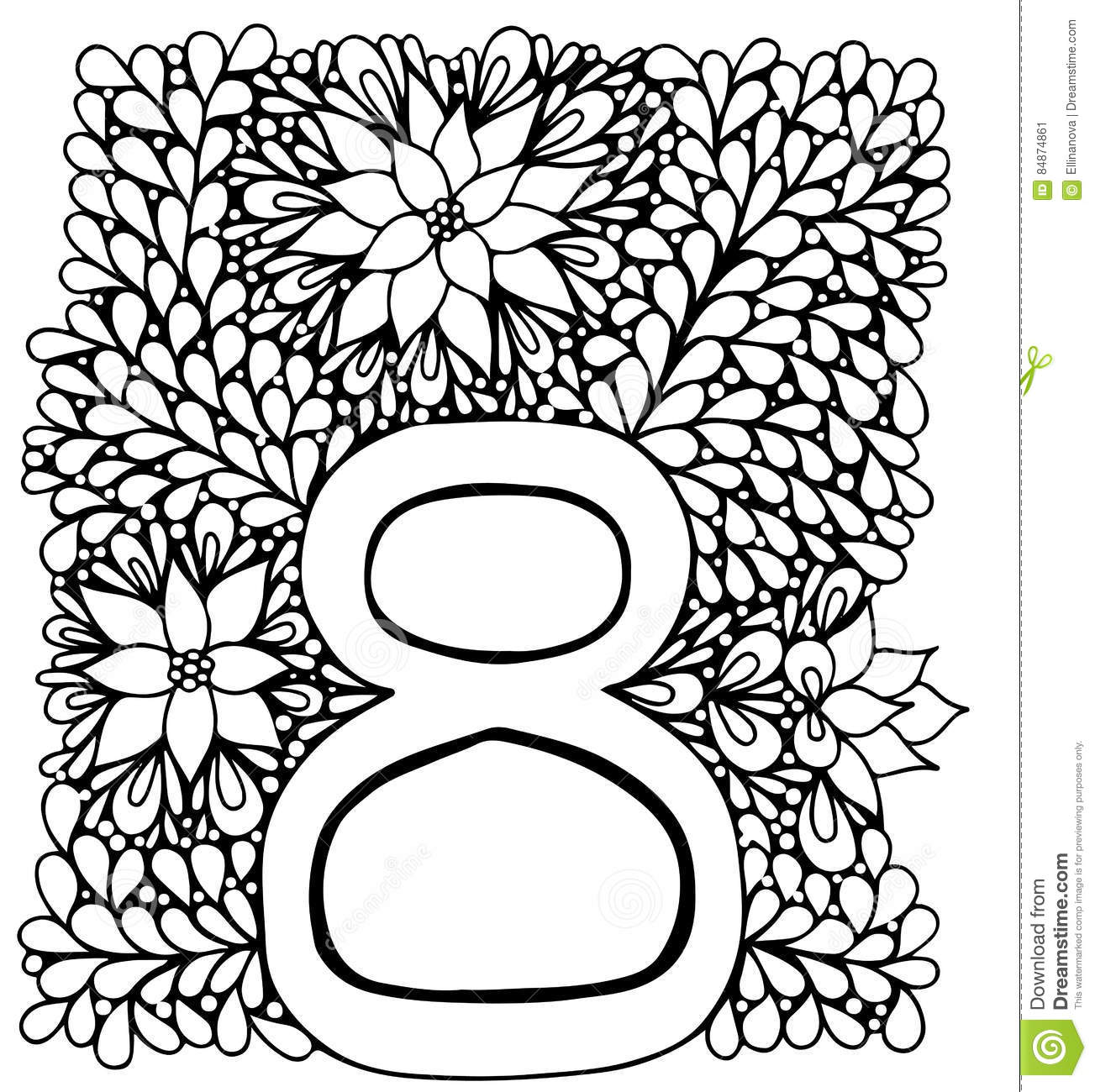 Black Line Ornate Frame With Number Eight Stock Vector ...