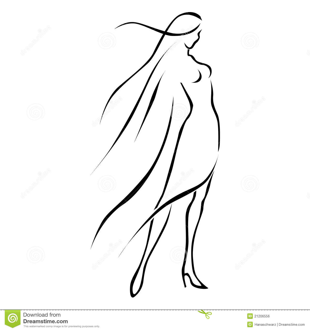 Line Drawing Woman : Black line woman in wind royalty free stock image