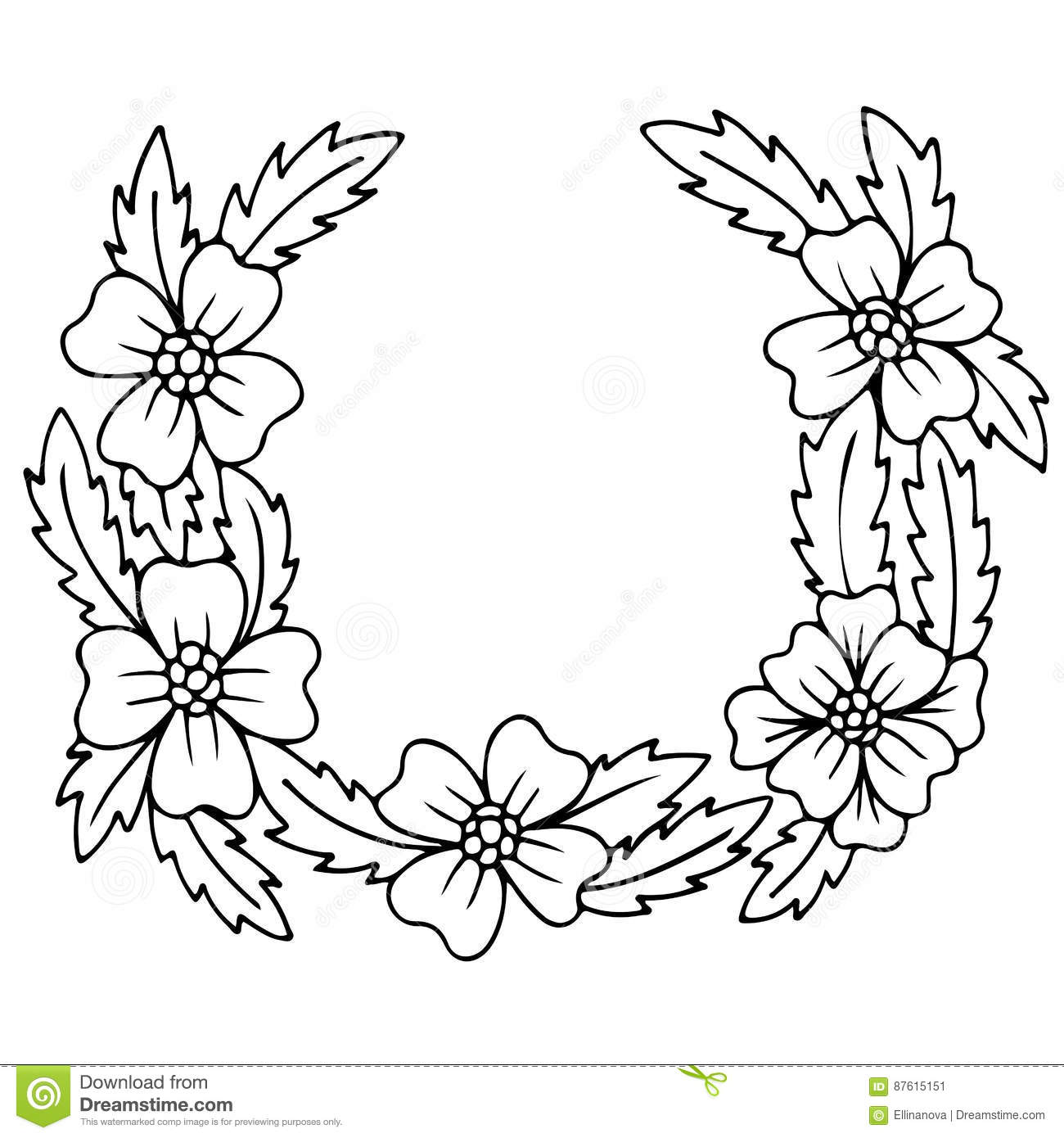 Black and white floral wreath stock vector image 65241515 - Royalty Free Vector Black Card Floral Flower Frame Invitation Wreath