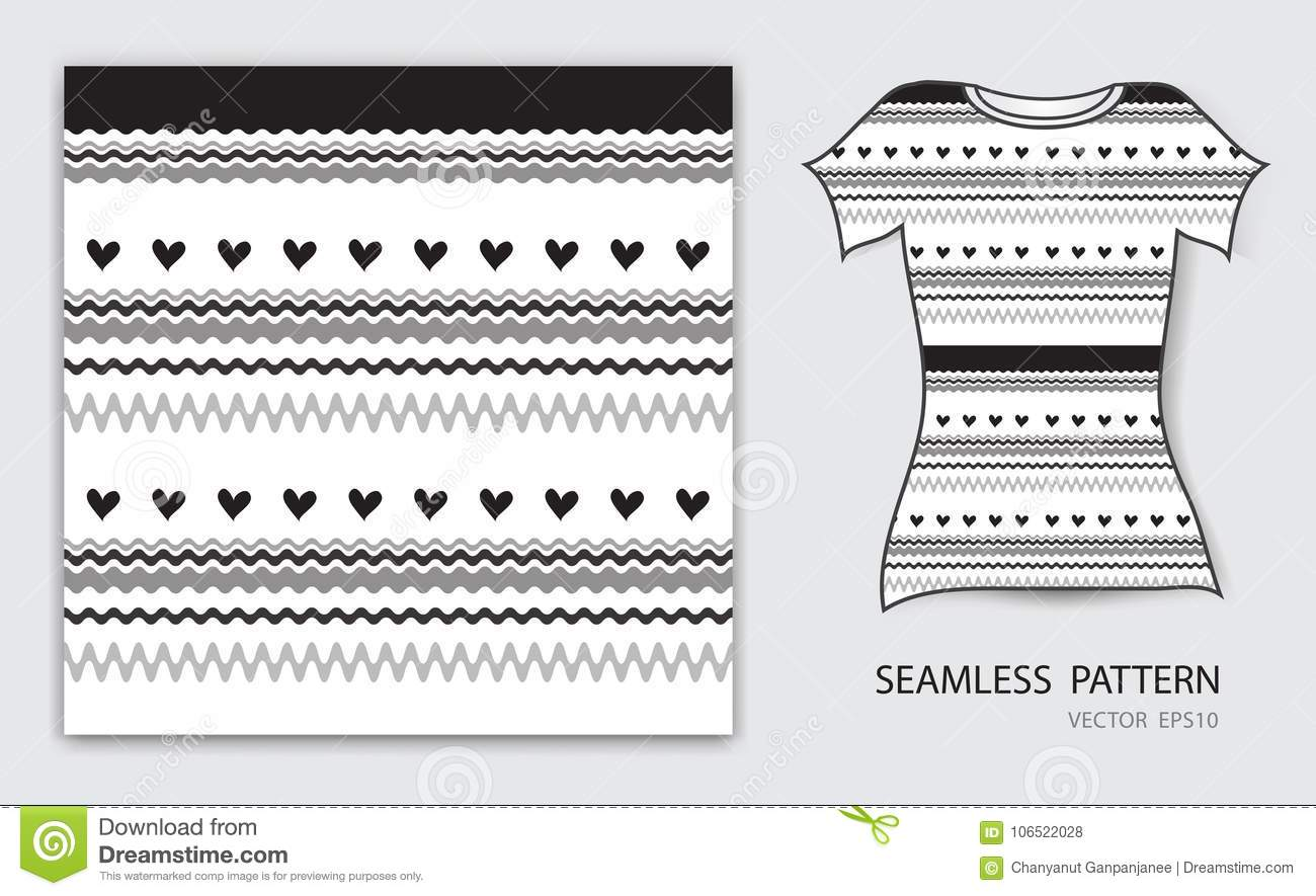 Black lines and heart seamless pattern vector illustration, t shirt design, fabric texture, patterned clothing