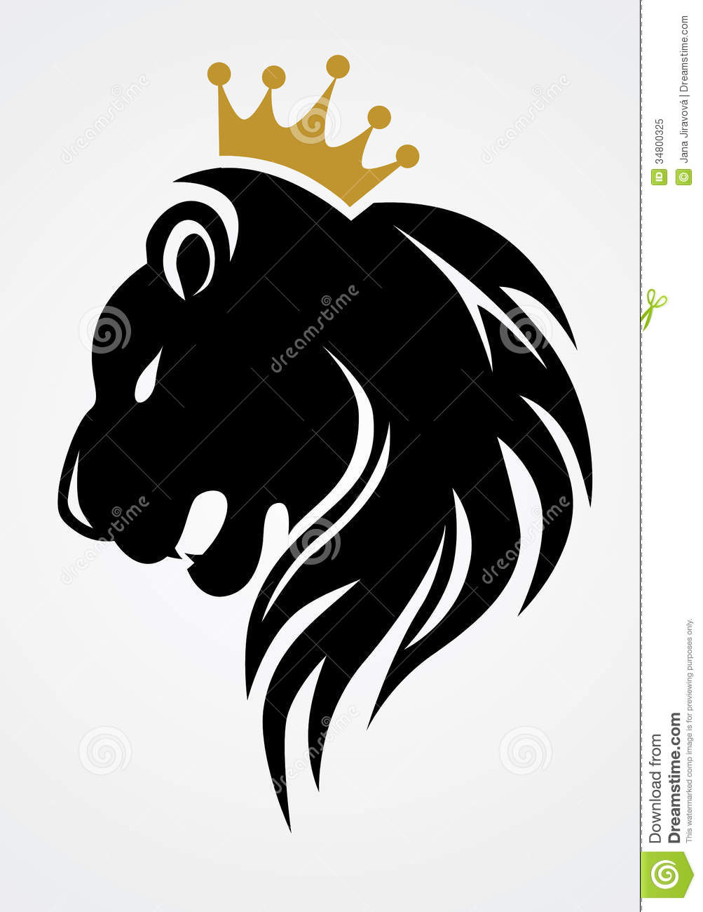 Black Lion With Gold Crown Royalty Free Stock Photo - Image: 34800325