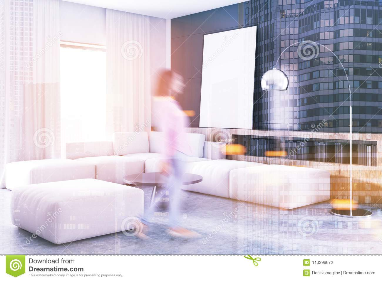 Black Living Room Corner White Sofa Poster Blur Stock