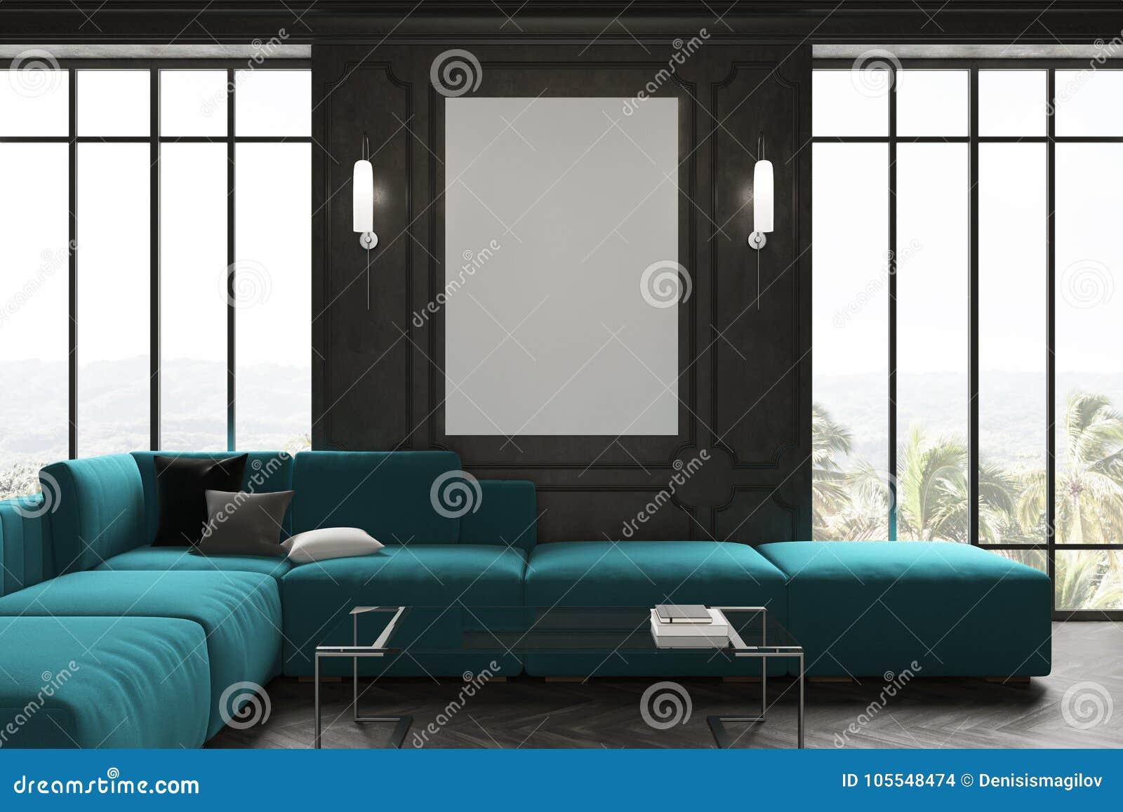 Miraculous Black Living Room Blue Sofa And Poster Stock Illustration Evergreenethics Interior Chair Design Evergreenethicsorg