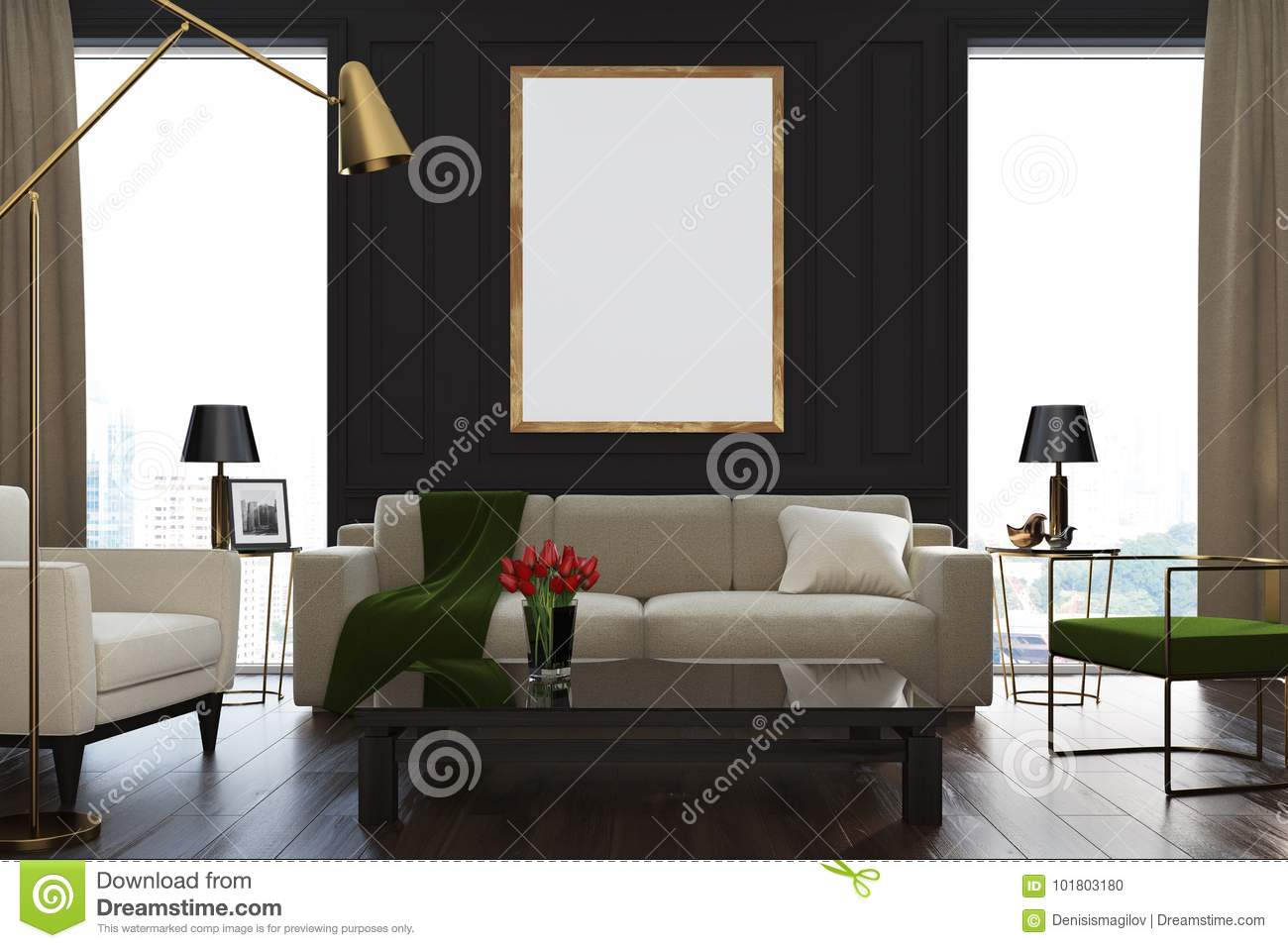 Wonderful Black Living Room Interior With Loft Windows, Beige Curtains, A Beige Sofa,  Green And Beige Armchairs, A Coffee Table And A Framed Poster.