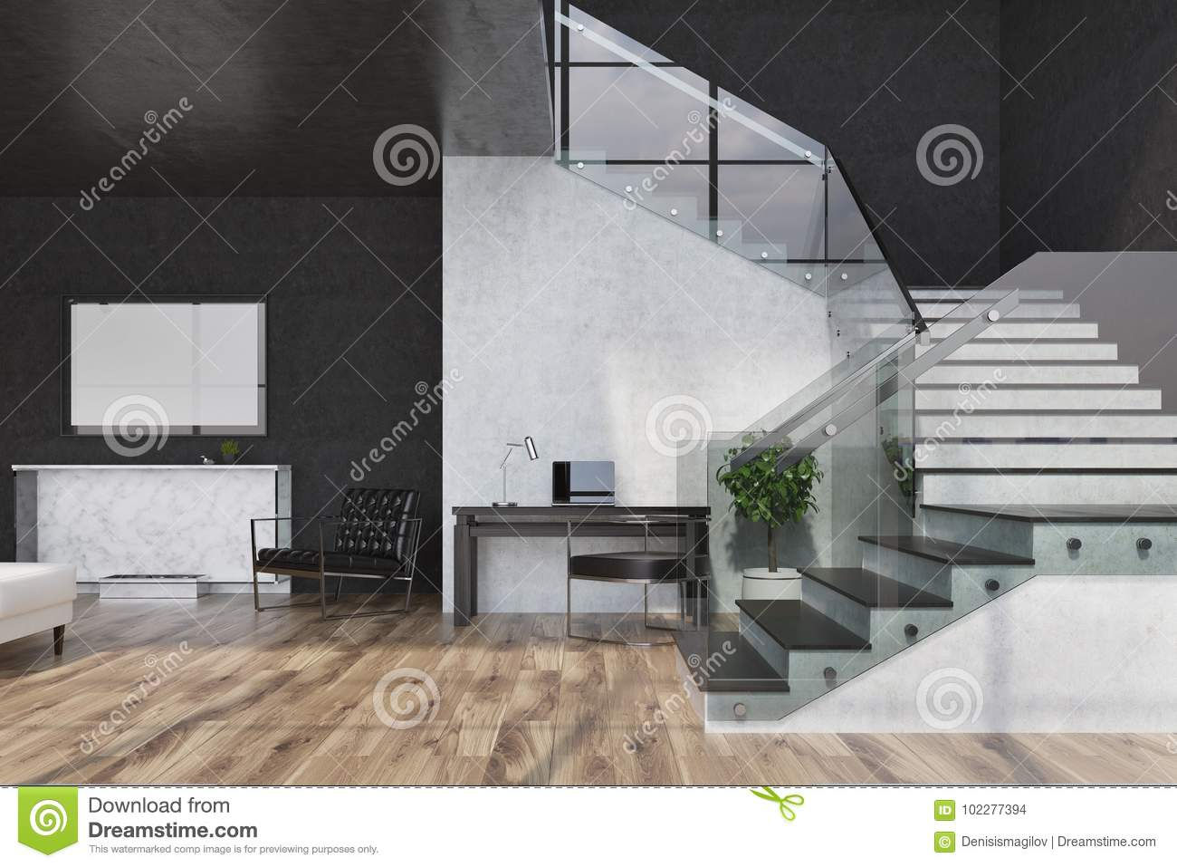 Black Marble Living Room Fireplace And Poster Stock Illustration Illustration Of Lobby Hall 102277394