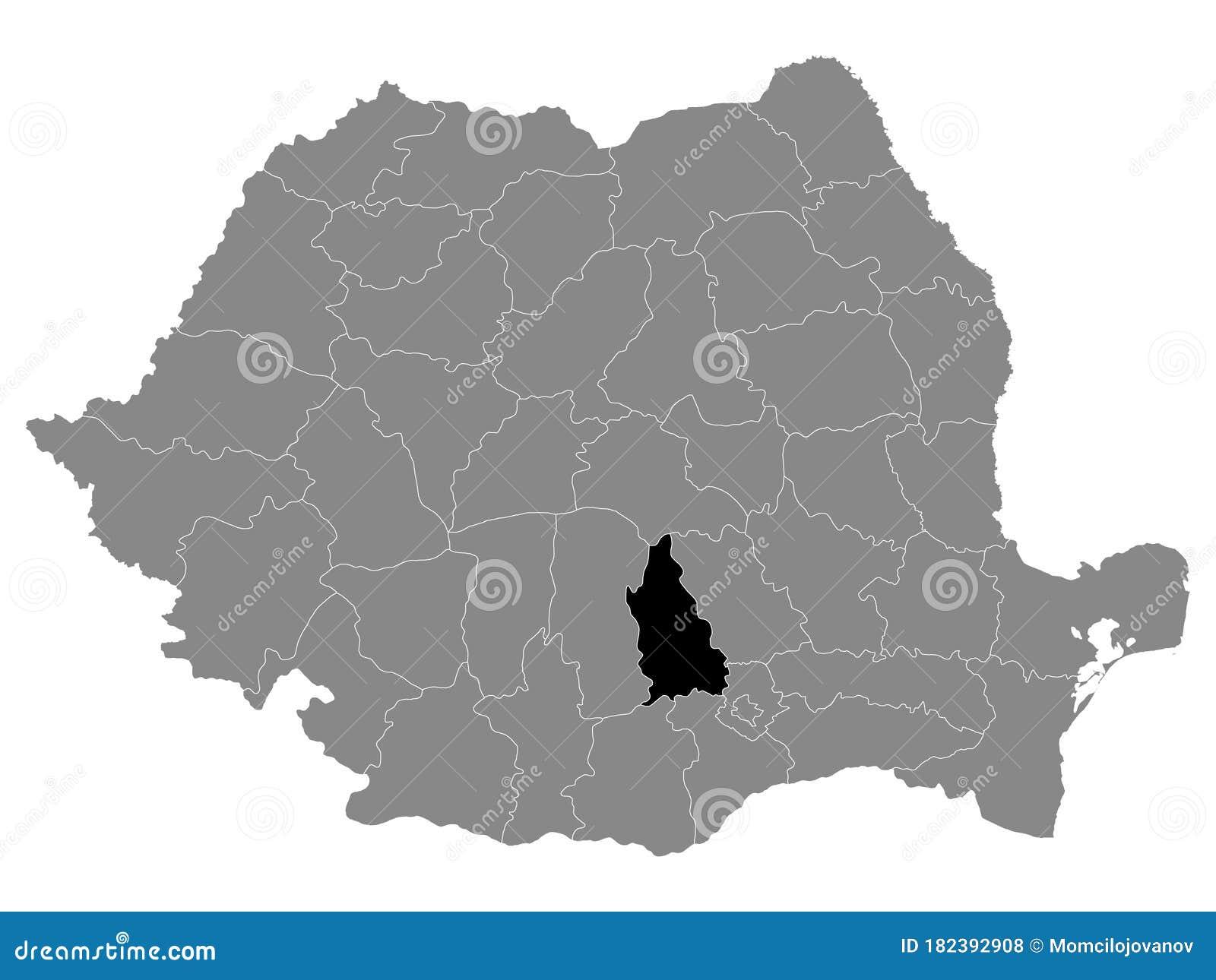 Image of: Location Map Of County Dambovița Stock Vector Illustration Of Romania Bucharest 182392908