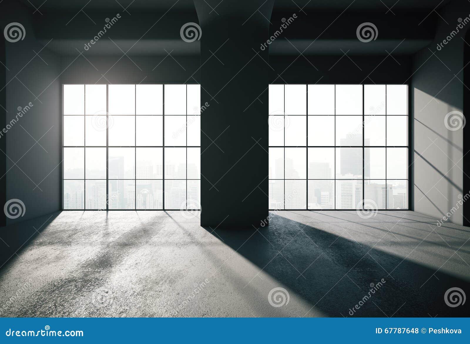 Black loft interior backlit stock illustration illustration of