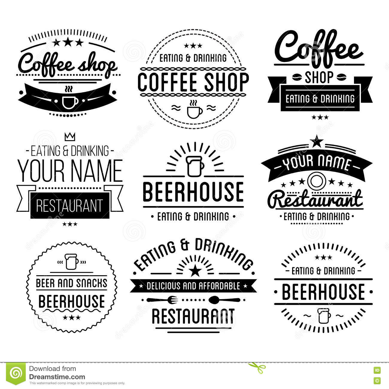 Black Logo. Coffee Shop Template. Restaurant Label. Beer House ...