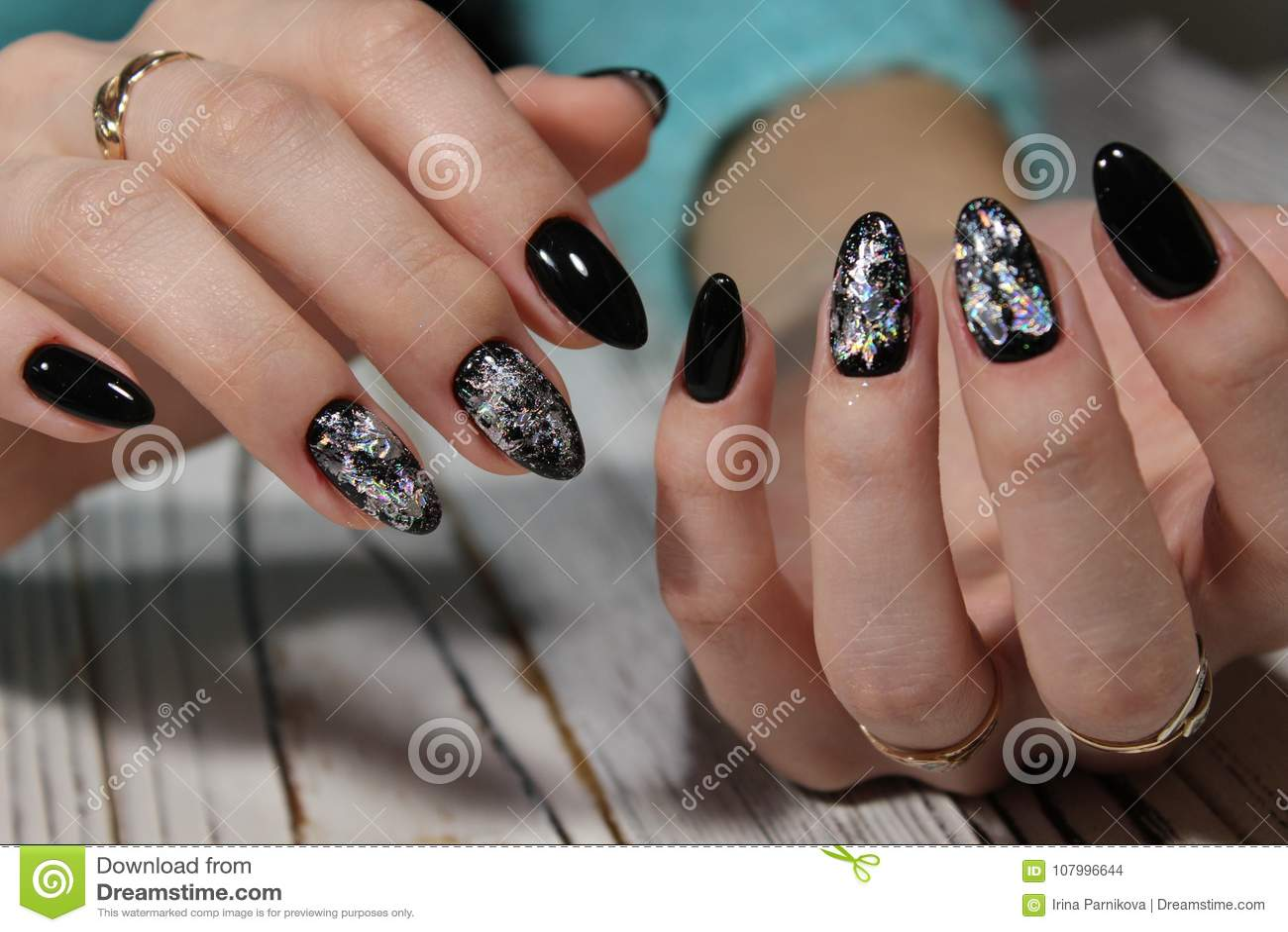 Black Long Nails Stock Photo Image Of Manicured Girl 107996644