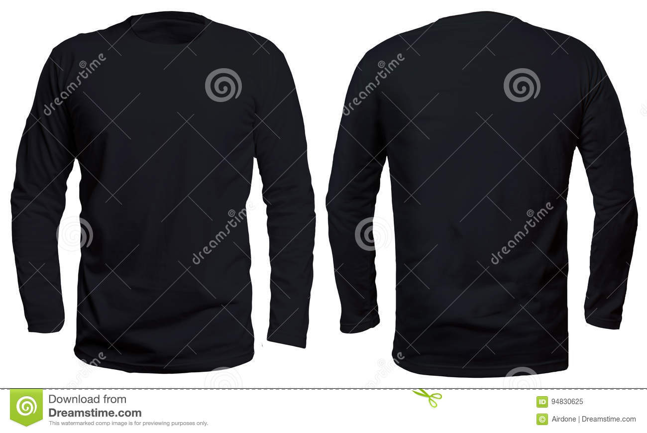 Blank Long Sleve Shirt Mock Up Template Front And Back View Isolated On White Plain Black T Mockup Sleeved Tee Design Presentation For Print