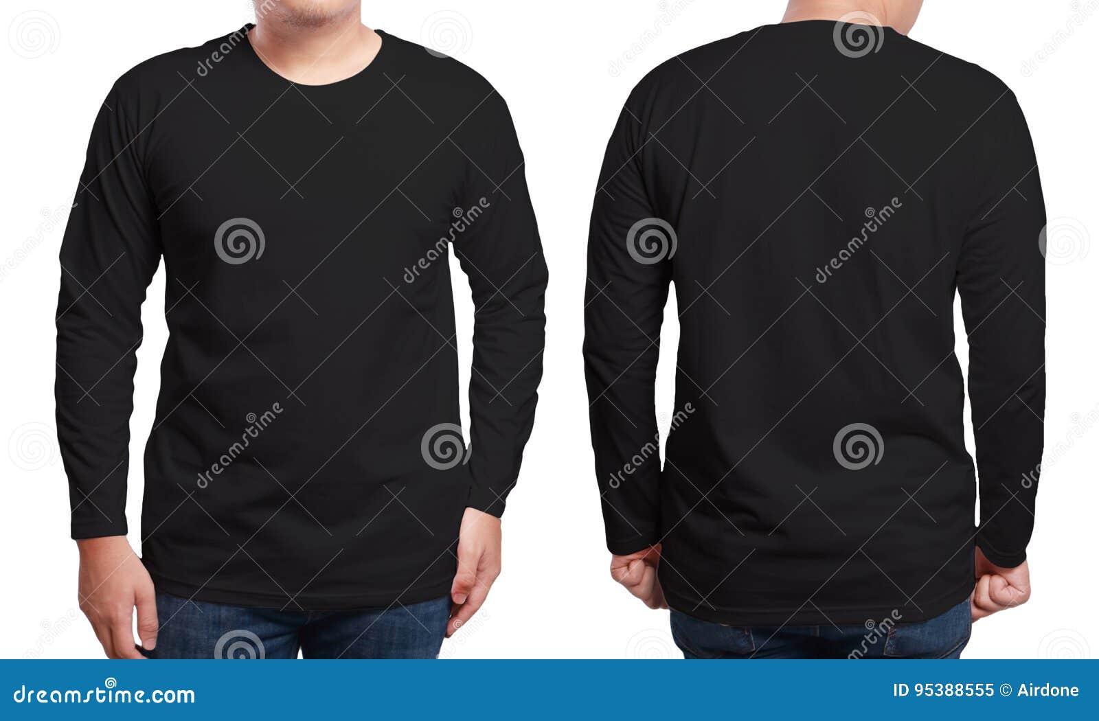 black long sleeved shirt design template stock image image of copy apparel 95388555. Black Bedroom Furniture Sets. Home Design Ideas