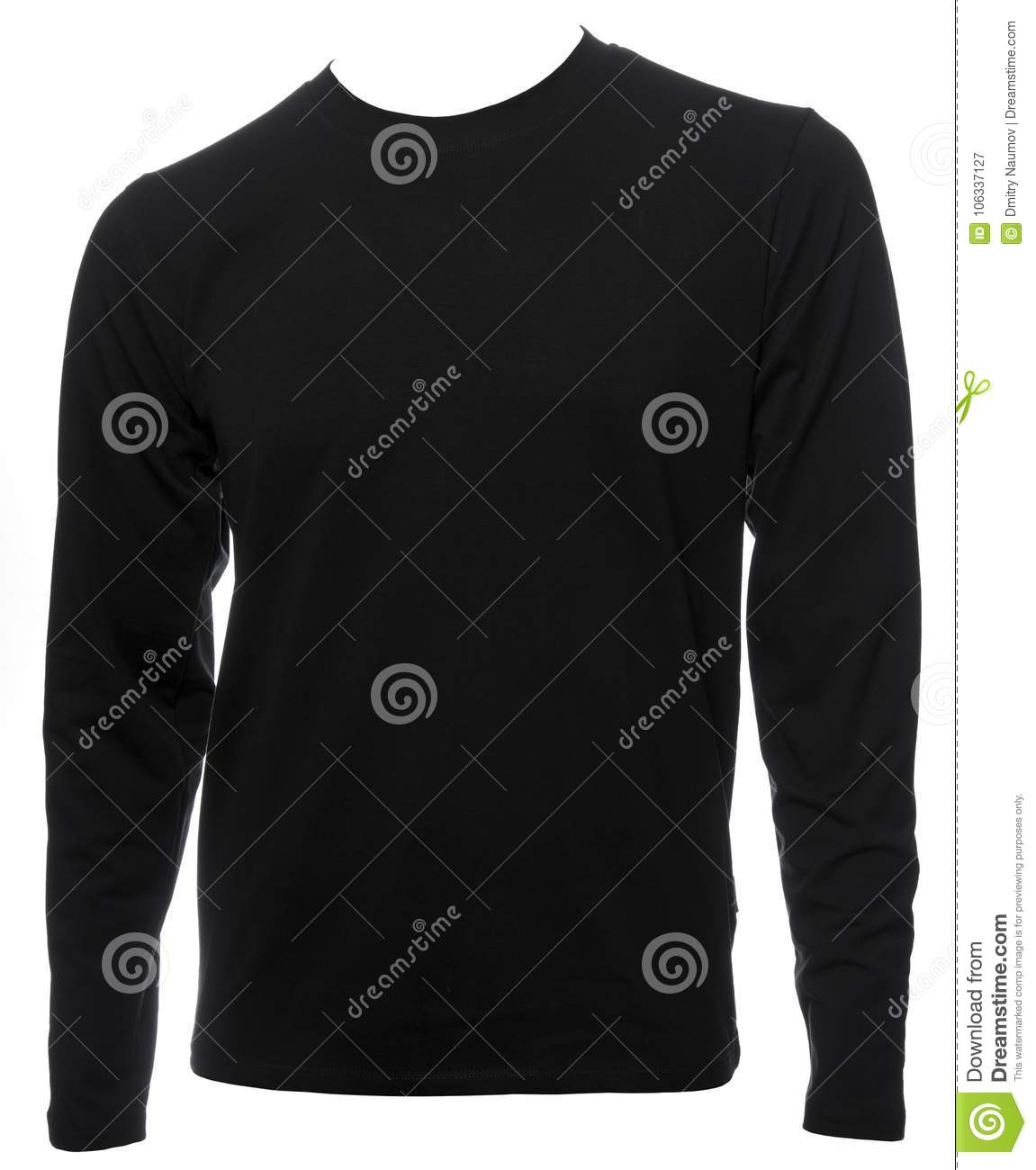 Black Longsleeve Cotton Tshirt Template Isolated Stock