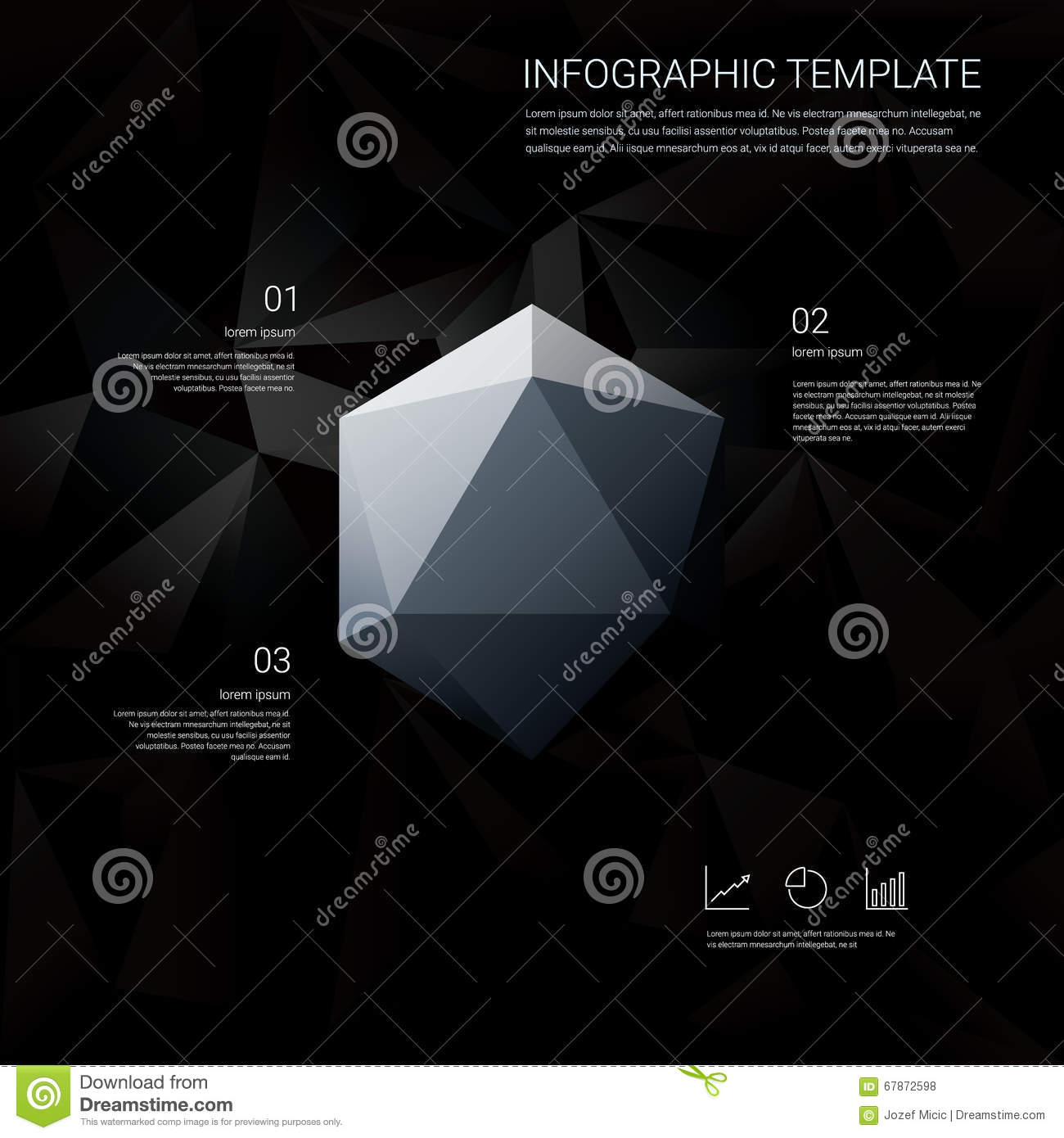 black low poly background with infographics menu options for, Low Poly Business Presentation Template, Presentation templates