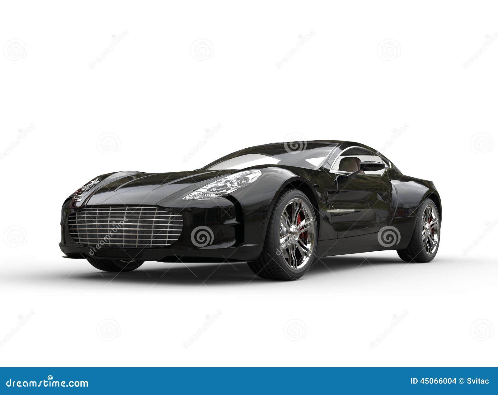 Luxury Vehicle: Black Luxury Sports Car On White Background Stock