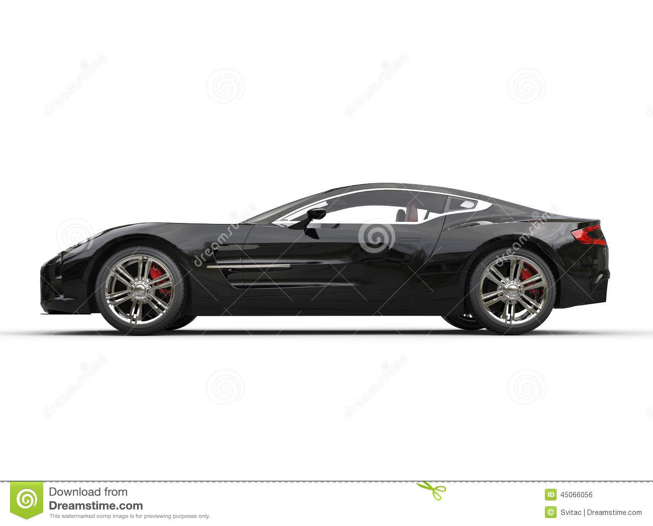 Black Luxury Sports Car On White Background Side View Stock