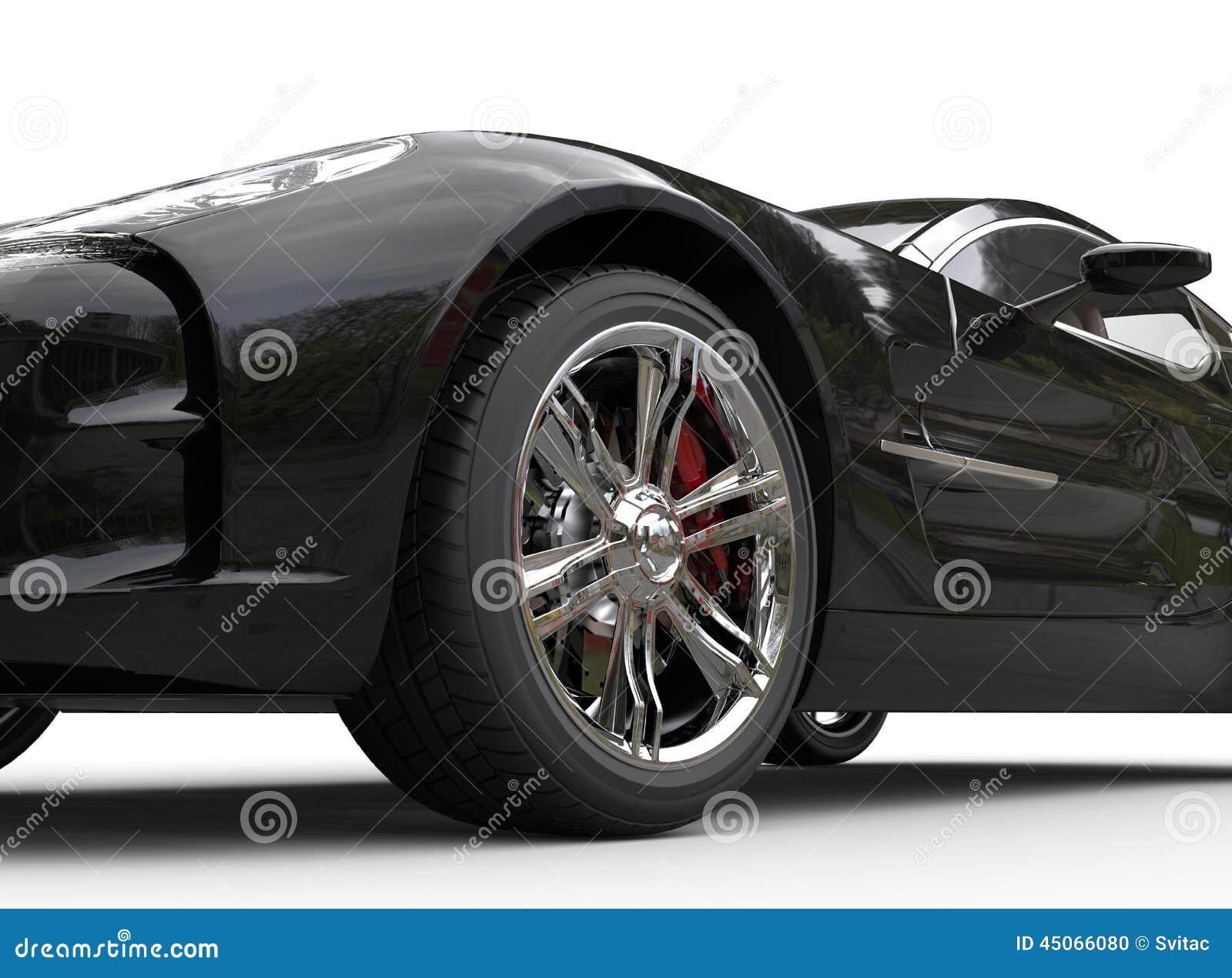 Luxury Vehicle: Black Luxury Sports Car On White Background