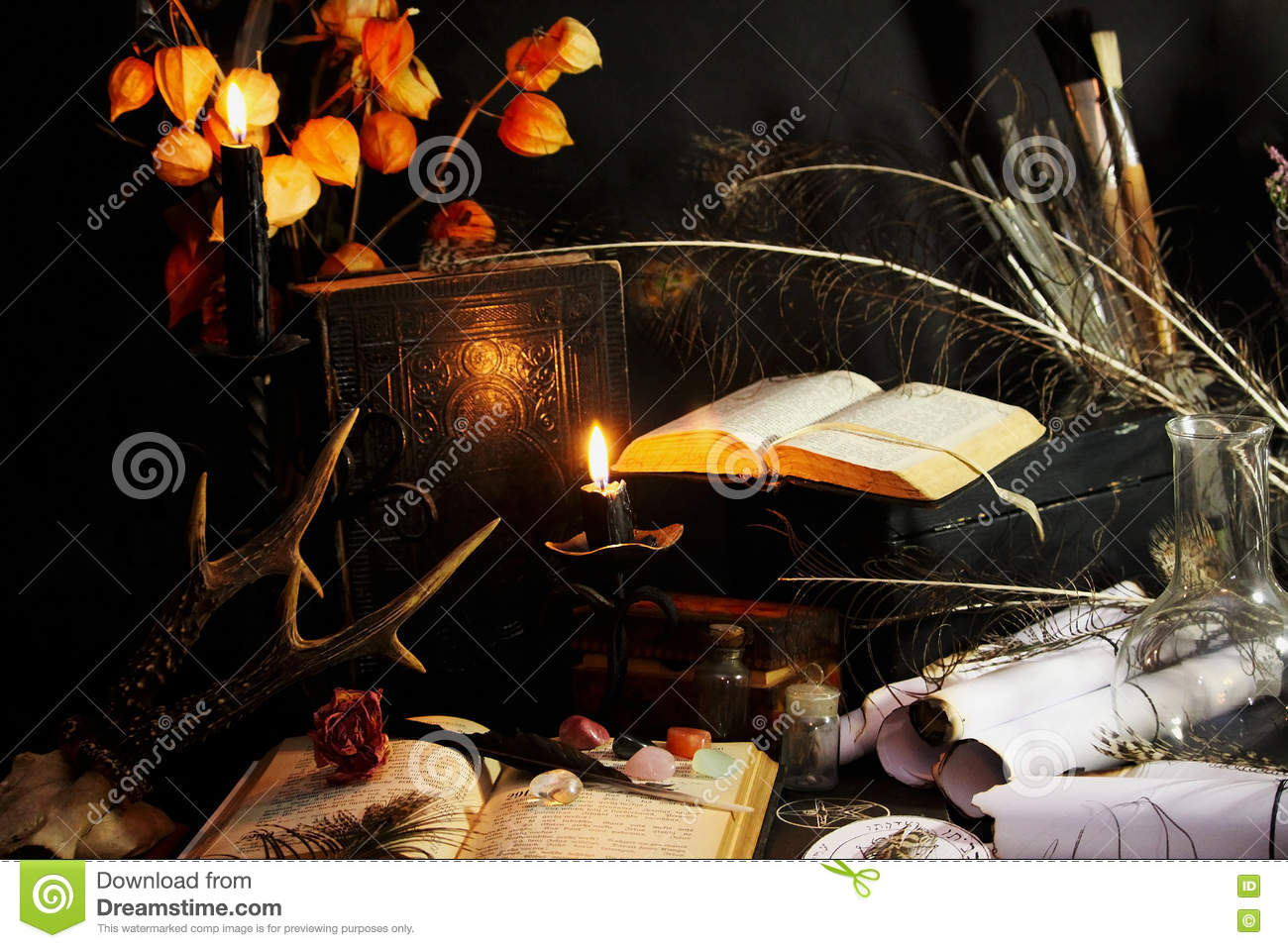 Black Magic Ritual stock photo  Image of flame, book - 80988362