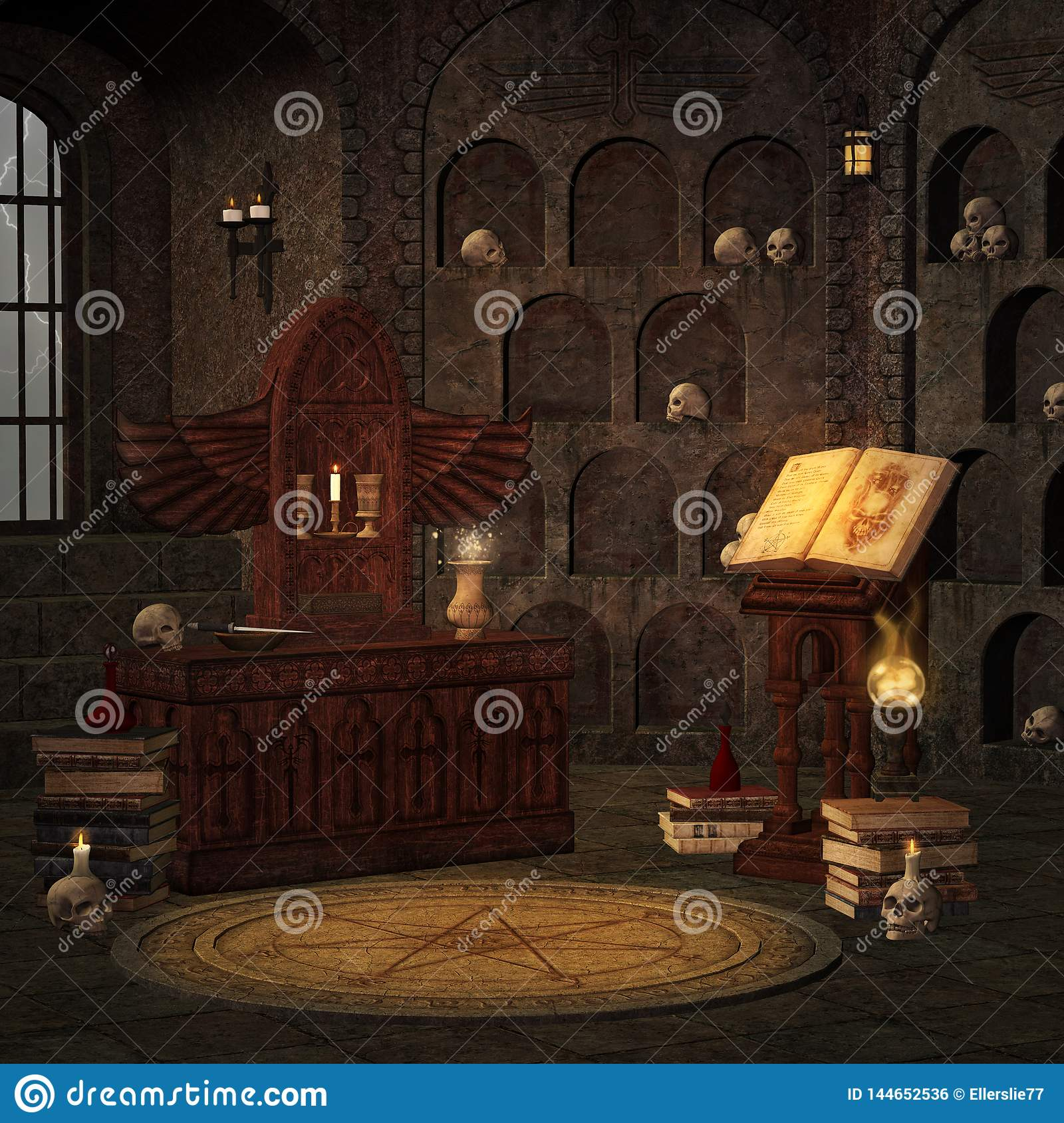 Black Magic Room In A Spooky Crypt Stock Illustration - Illustration of ball, backgrounds: 144652536