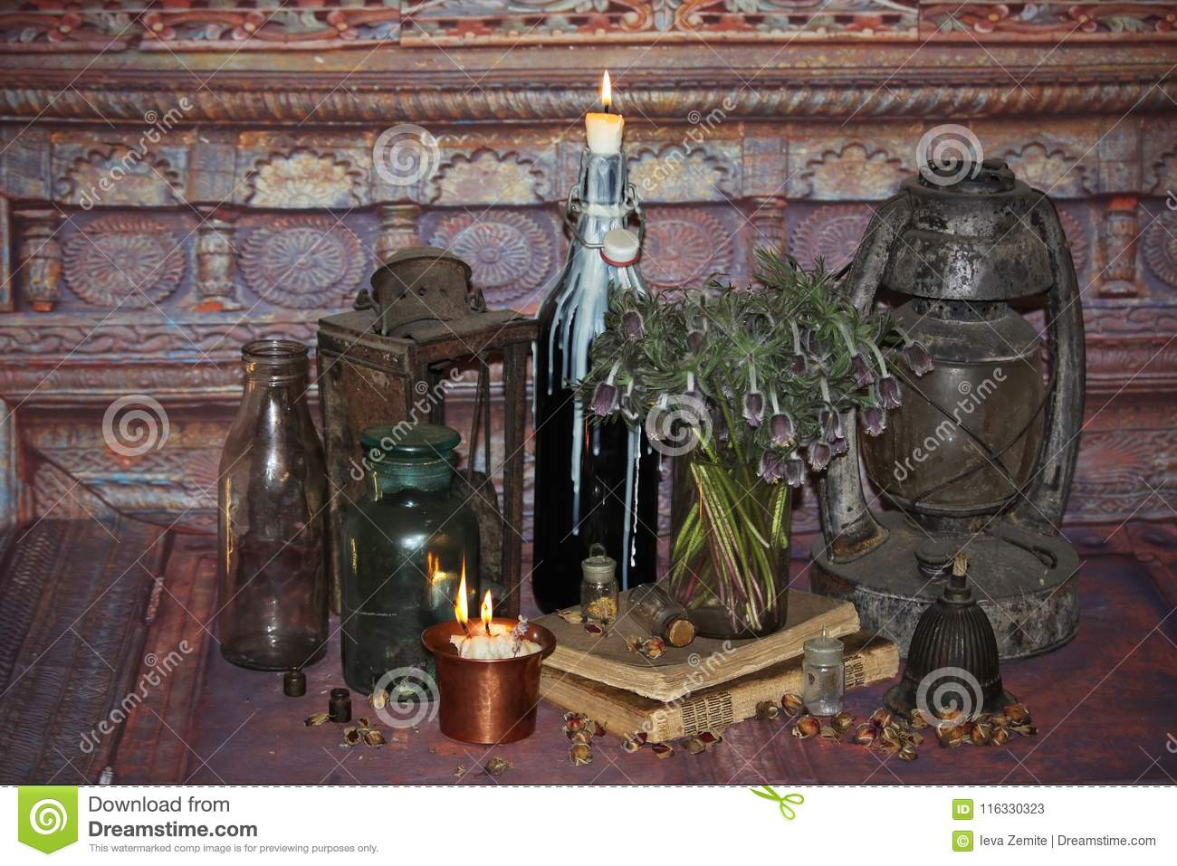 Black Magic Spells  Wiccan Spells And Herbs  Stock Image